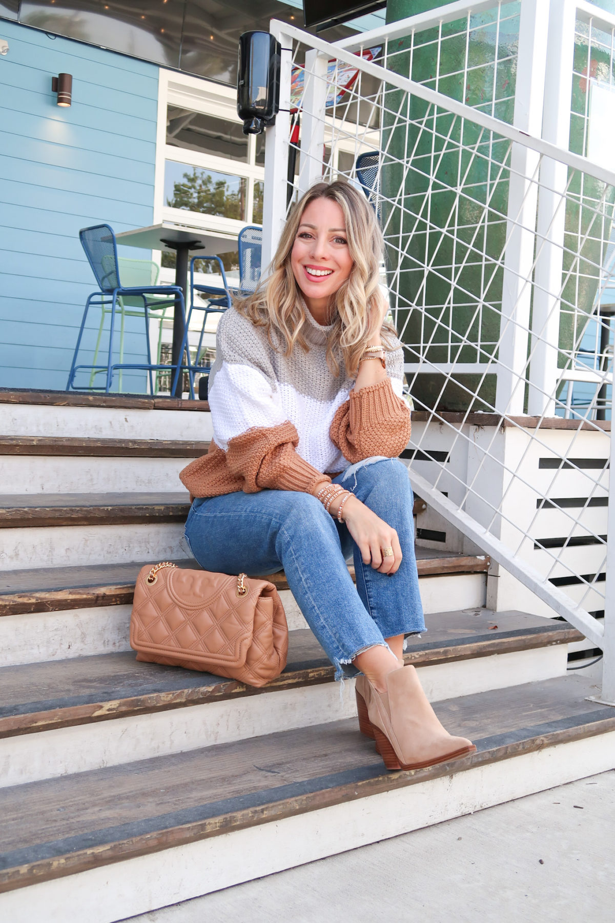 Outfits Lately, Colorblock Sweater, Jeans, Booties, Crossbody