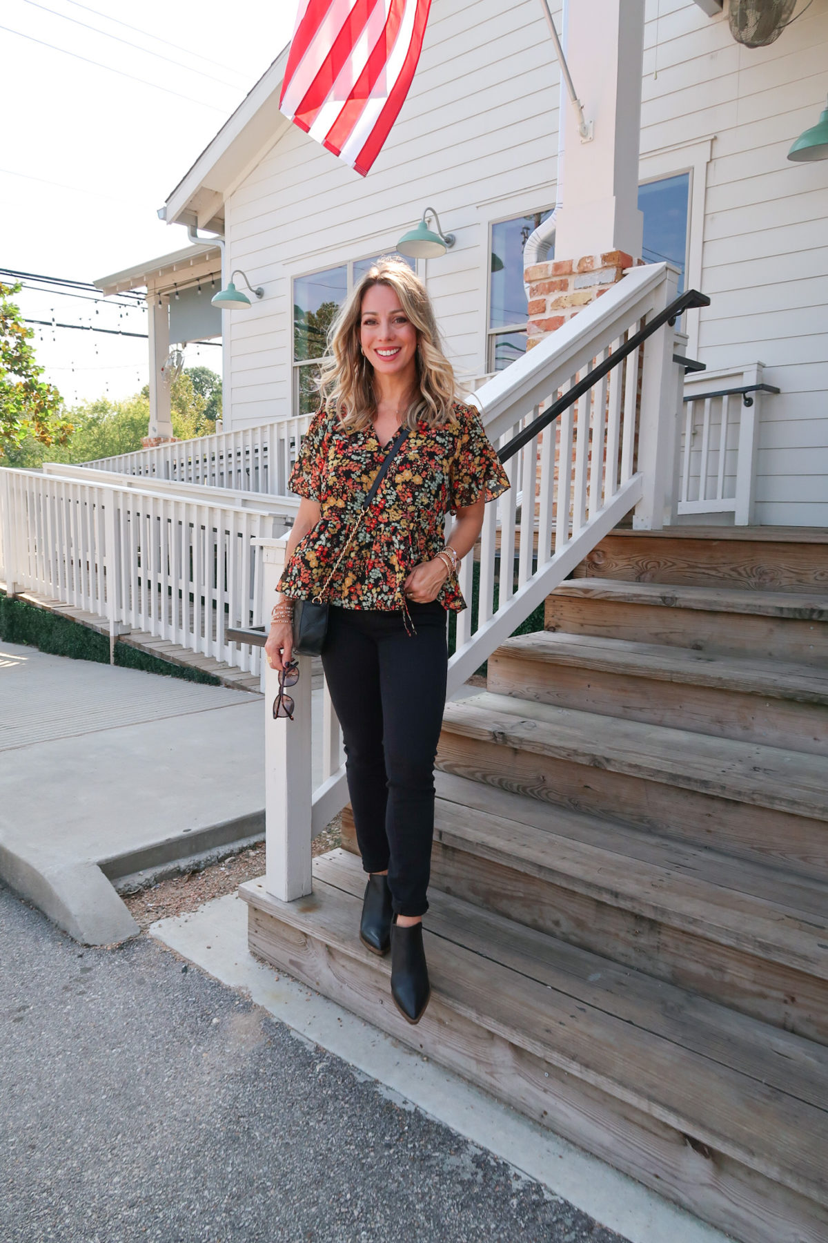Outfits Lately, Nordstrom Top, Black Denim Jeans, Booties, Crossbody