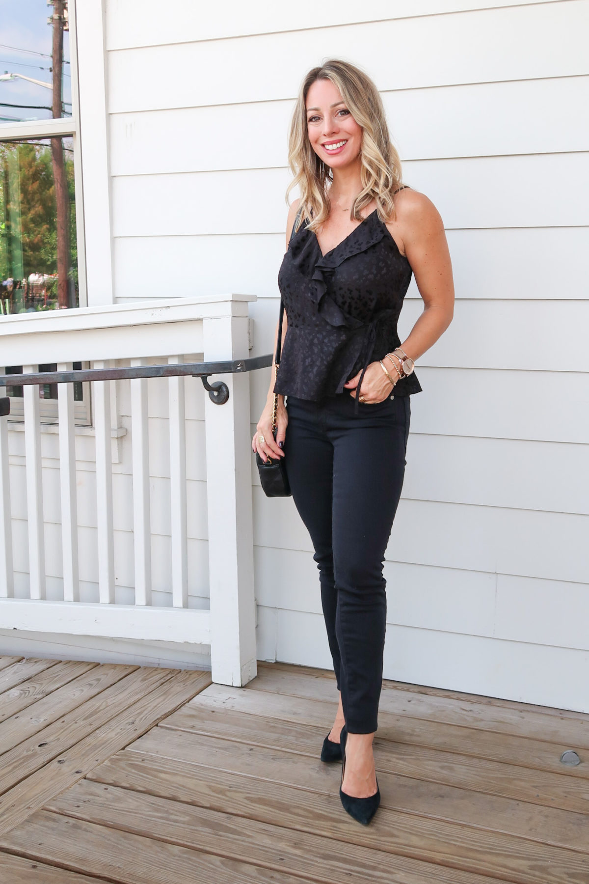 Outfits Lately, Express Wrap Top, Black Denim Jeans, Heels, Crossbody Bag