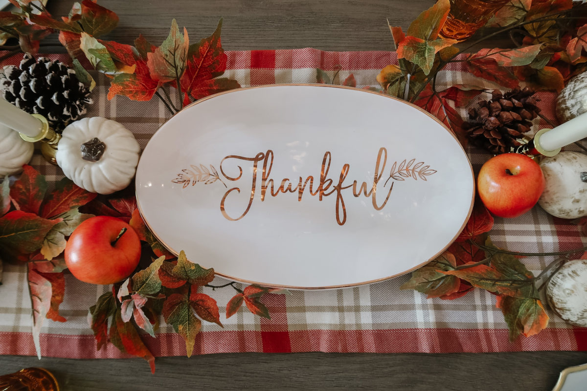 Thanksgiving Tablescapes, Fall Thankful Platter.