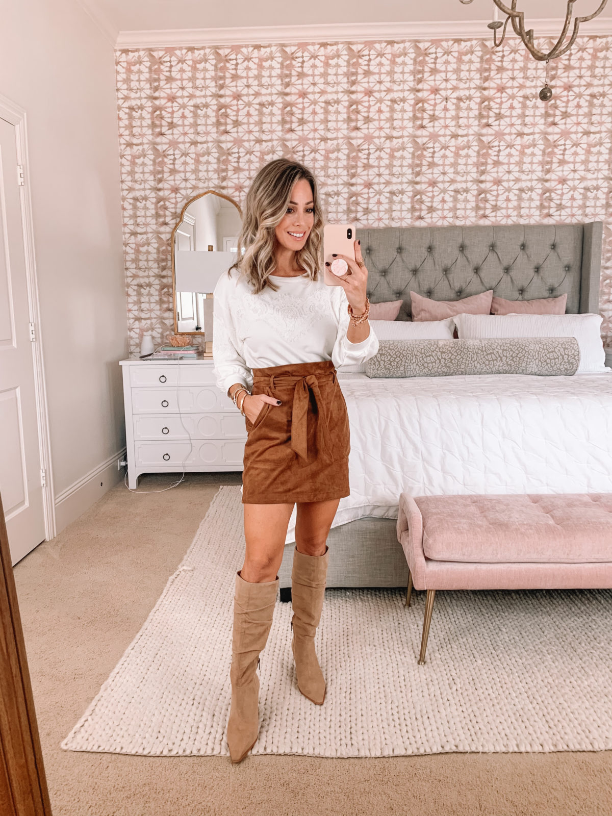 Dressing Room Finds, Express, Suede Skirt, White Top, Boots