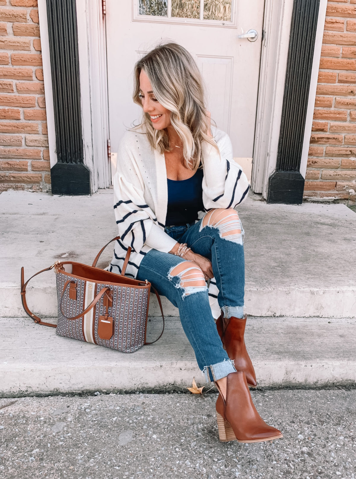 Outfits Lately, Bodysuit, Cardigan, Jeans, Booties, Tote