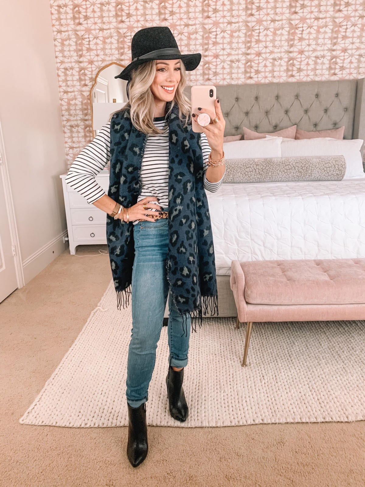 Walmart Fashion Finds, Striped Top, Leopard Belt, Jeans, Booties, Scarf, Hat