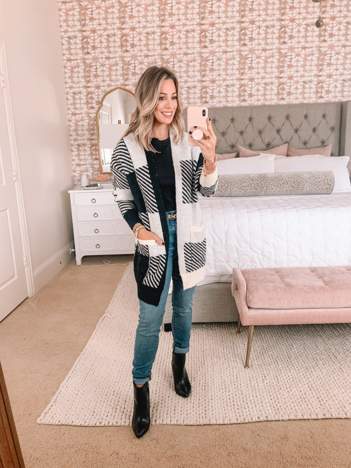 Walmart Fashion Finds, Black and White Cardigan, Jeans, Booties, Leopard Belt