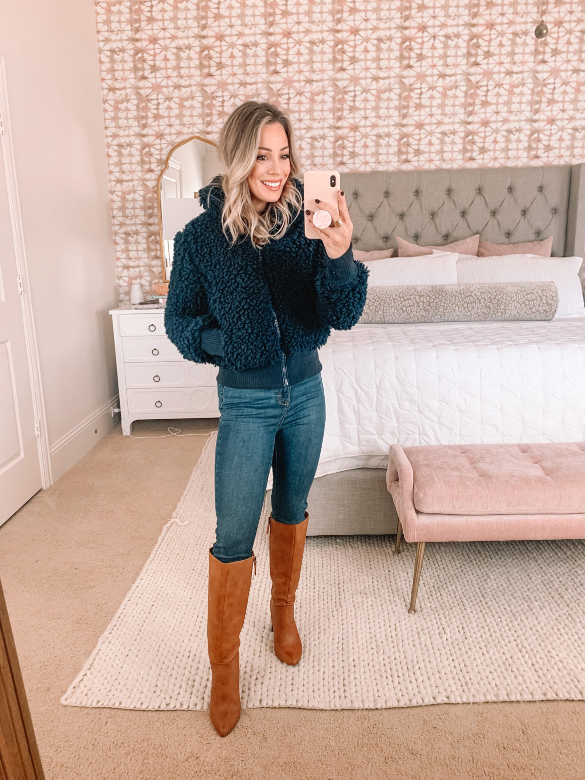 Walmart Fashion Finds, Teddy Bear Jacket, Jeans, Knee High Boots