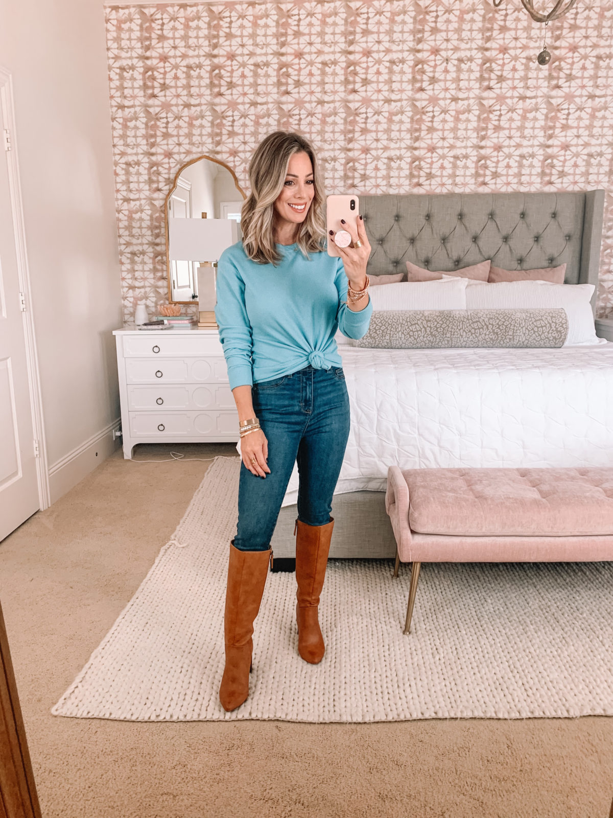 Walmart Fashion Finds, Waffle Knit Top, Jeans, Knee High Boots