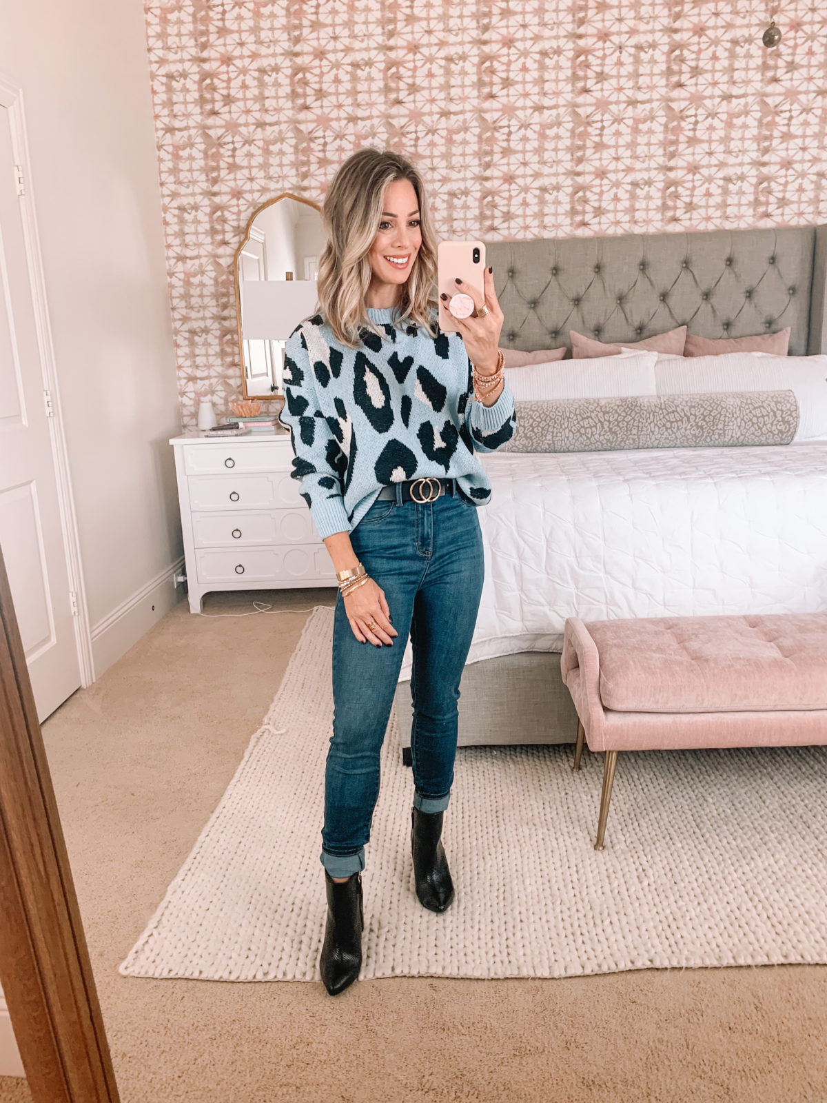 Walmart Fashion Finds, Blue Leopard Sweater, Jeggings, Booties