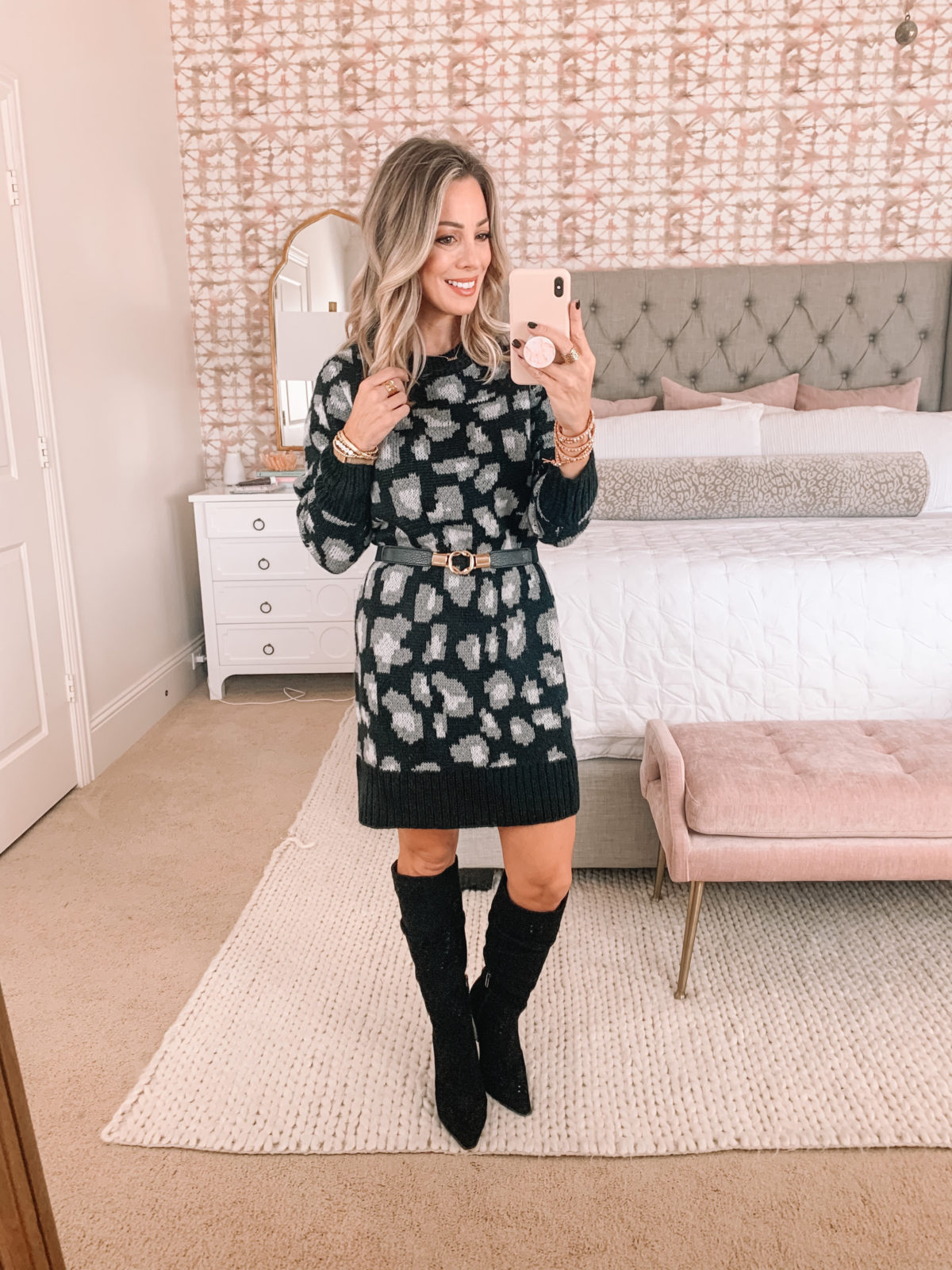 Walmart Fashion Finds, Black and White Leopard Sweater Dress, Knee High Boots, Belt
