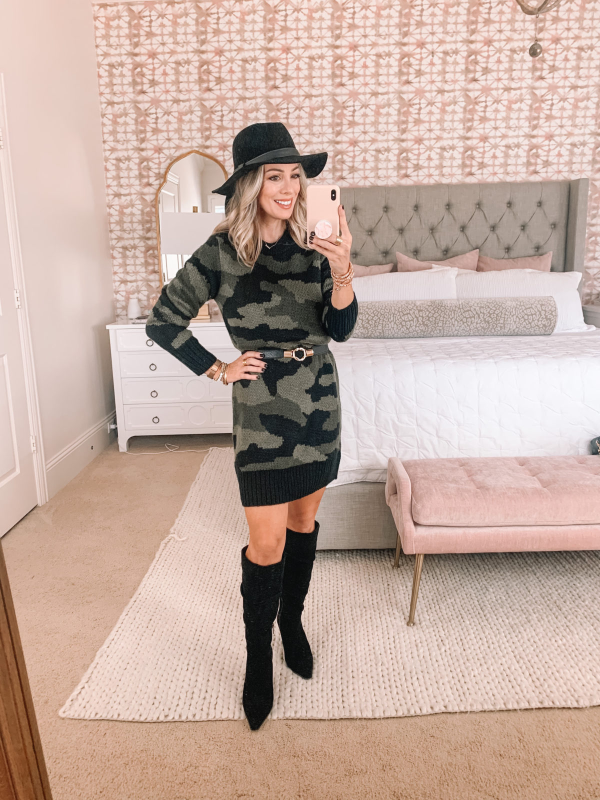 Walmart Fashion Finds, Camo Sweater Dress, Similar Belt, Knee High Boots, Hat