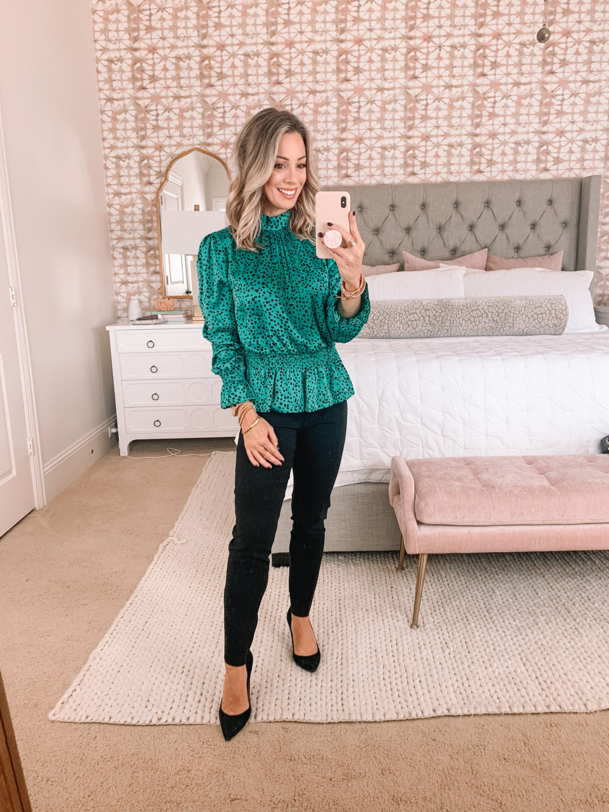 Walmart Fashion Finds, Dotted Peplum Top, Pants, Heels
