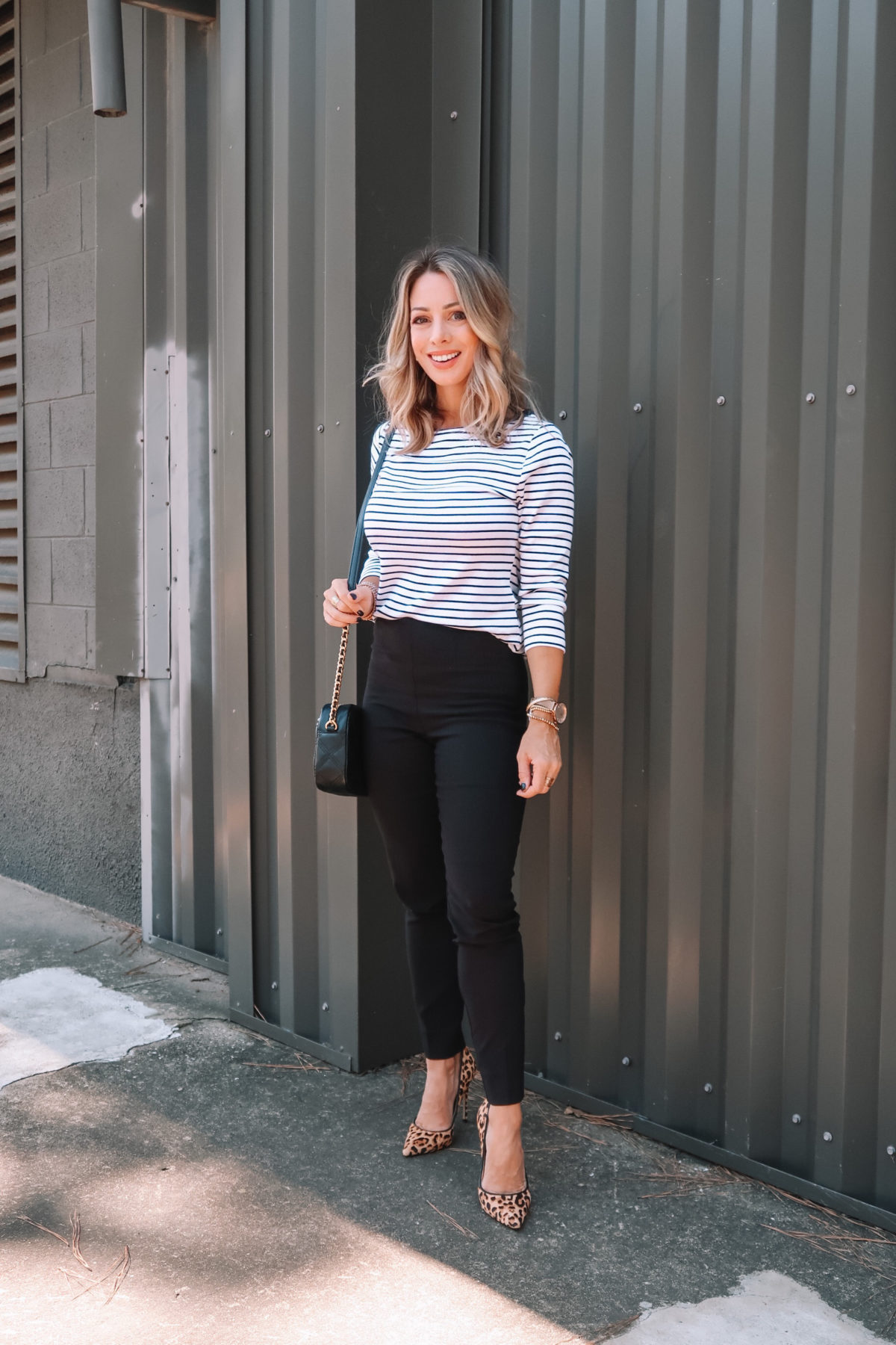Outfits Lately, Striped Top, Pants, Leopard Heels, Crossbody Bag