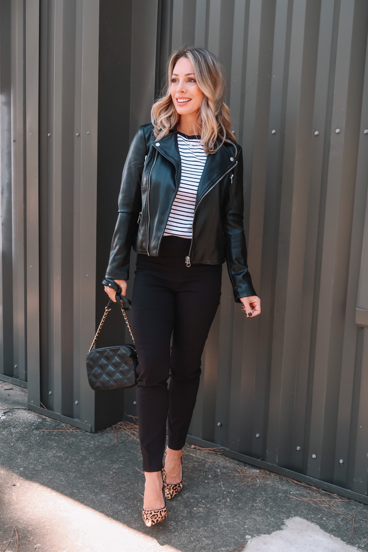 Outfits Lately, Striped Top, Faux Leather Jacket, Pants, Leopard Heels, Crossbody Bag