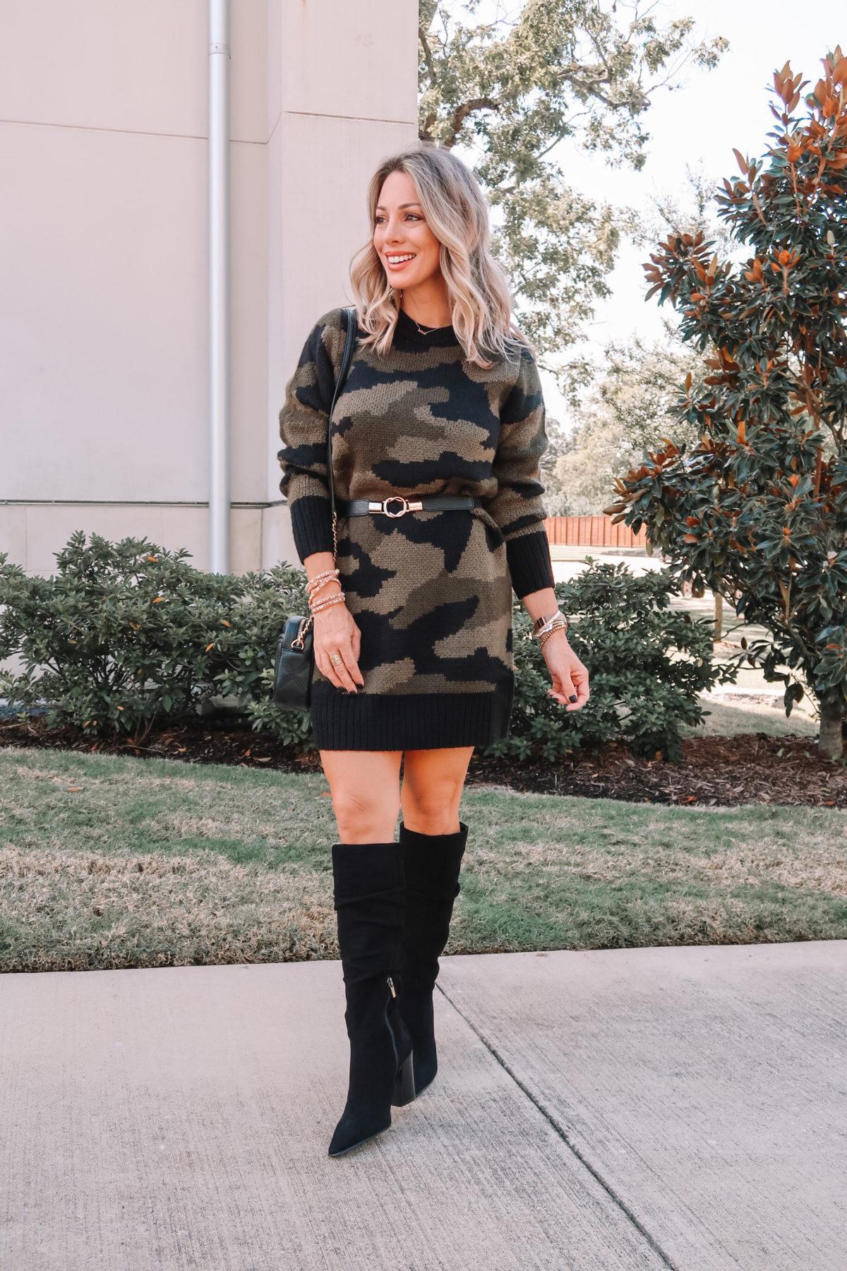 Outfits Lately, Walmart Dress, Boots, Belt