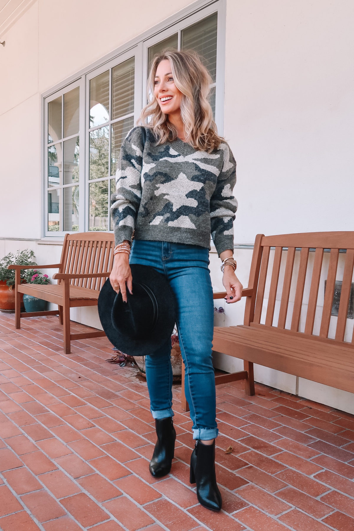 Outfits Lately, Camo Sweater, Jeans, Booties, Hat