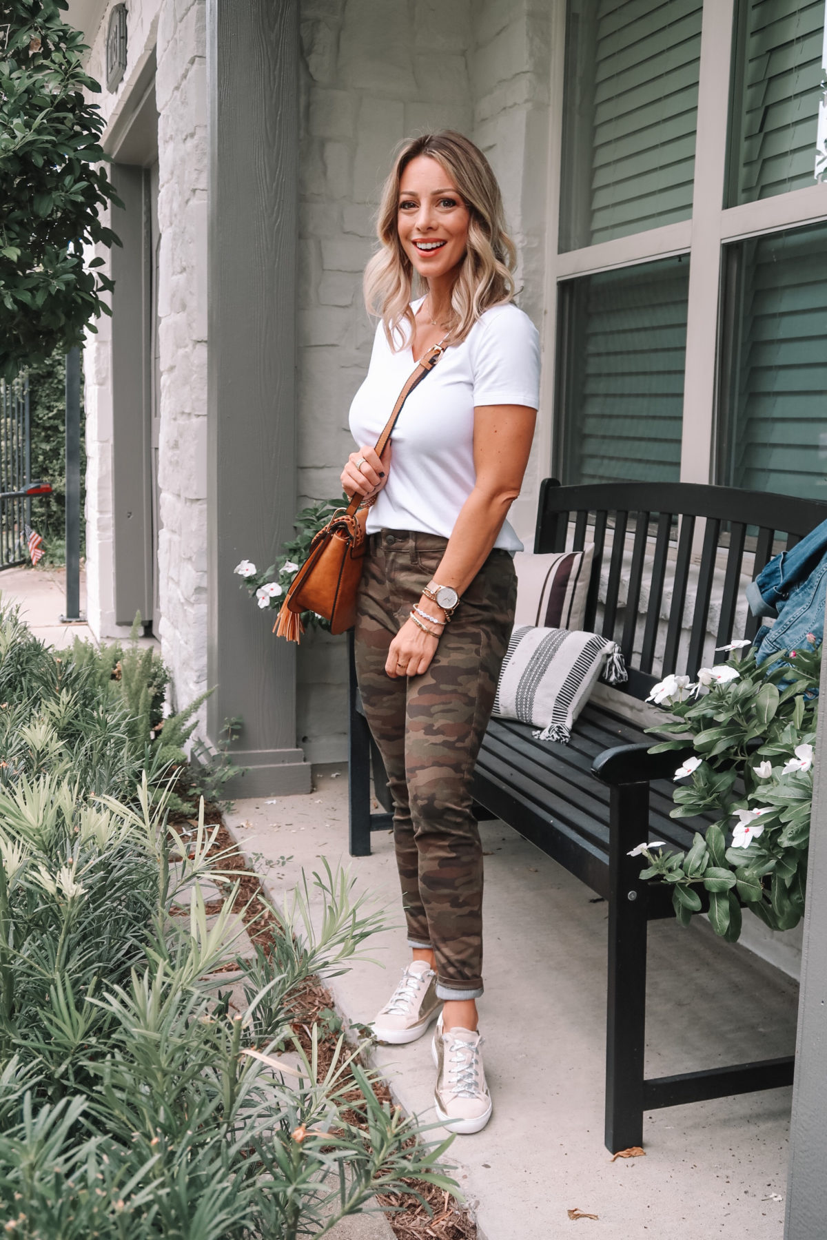 Outfits Lately, Amazon Essentials Tee, Camo Joggers, Star Sneakers, Crossbody Bag