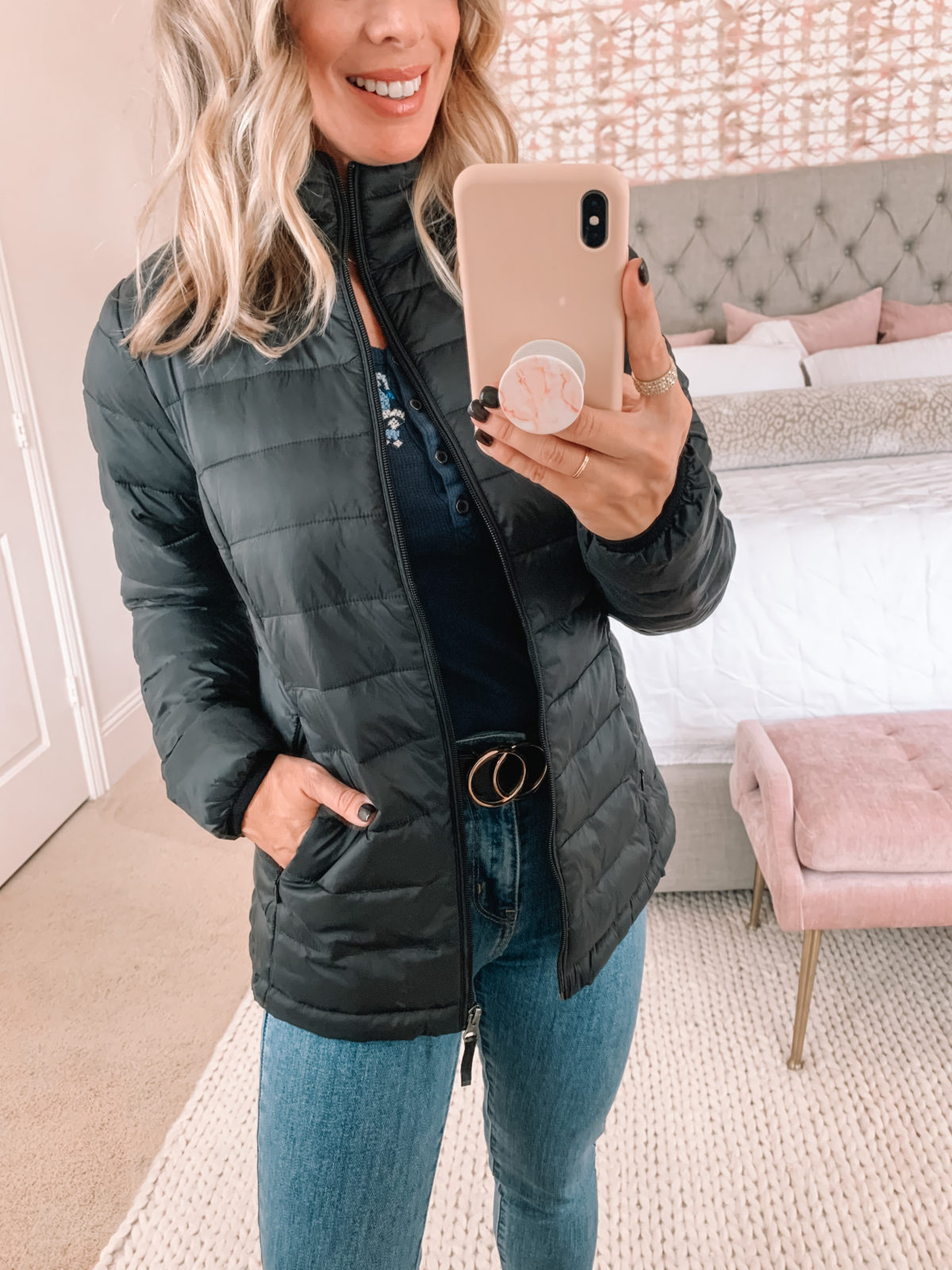 Amazon Fashion Faves, Puffer Jacket, Circle Belt, Jeans