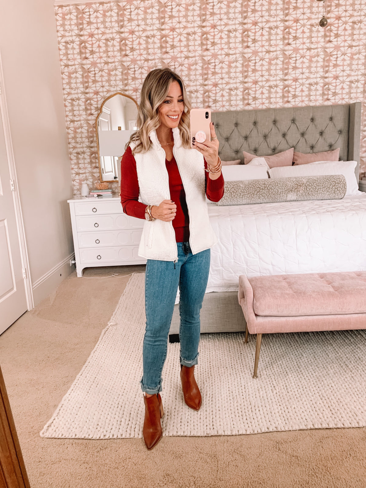 Amazon Fashion Faves, Red Long Sleeve Top, Jeans, Booties, Fleece Vest