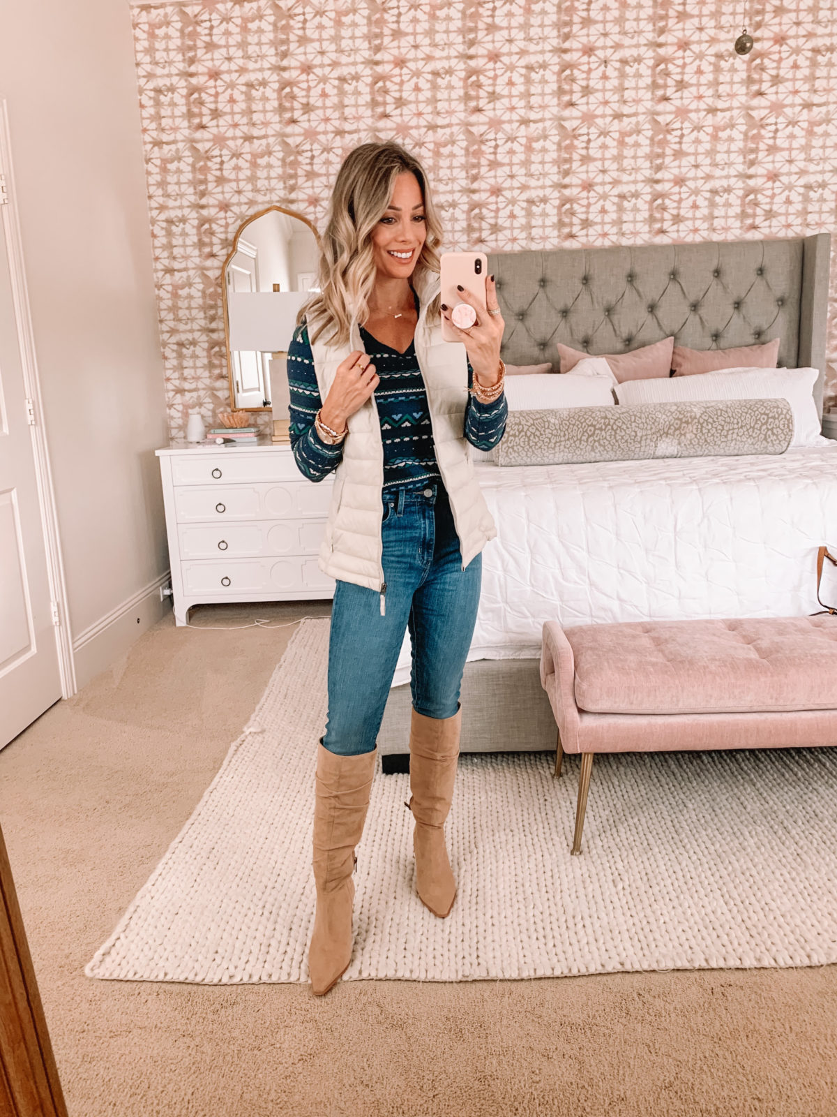 Amazon Fashion Faves, Fair Isle Tee, Puff Vest, Boots, Jeans