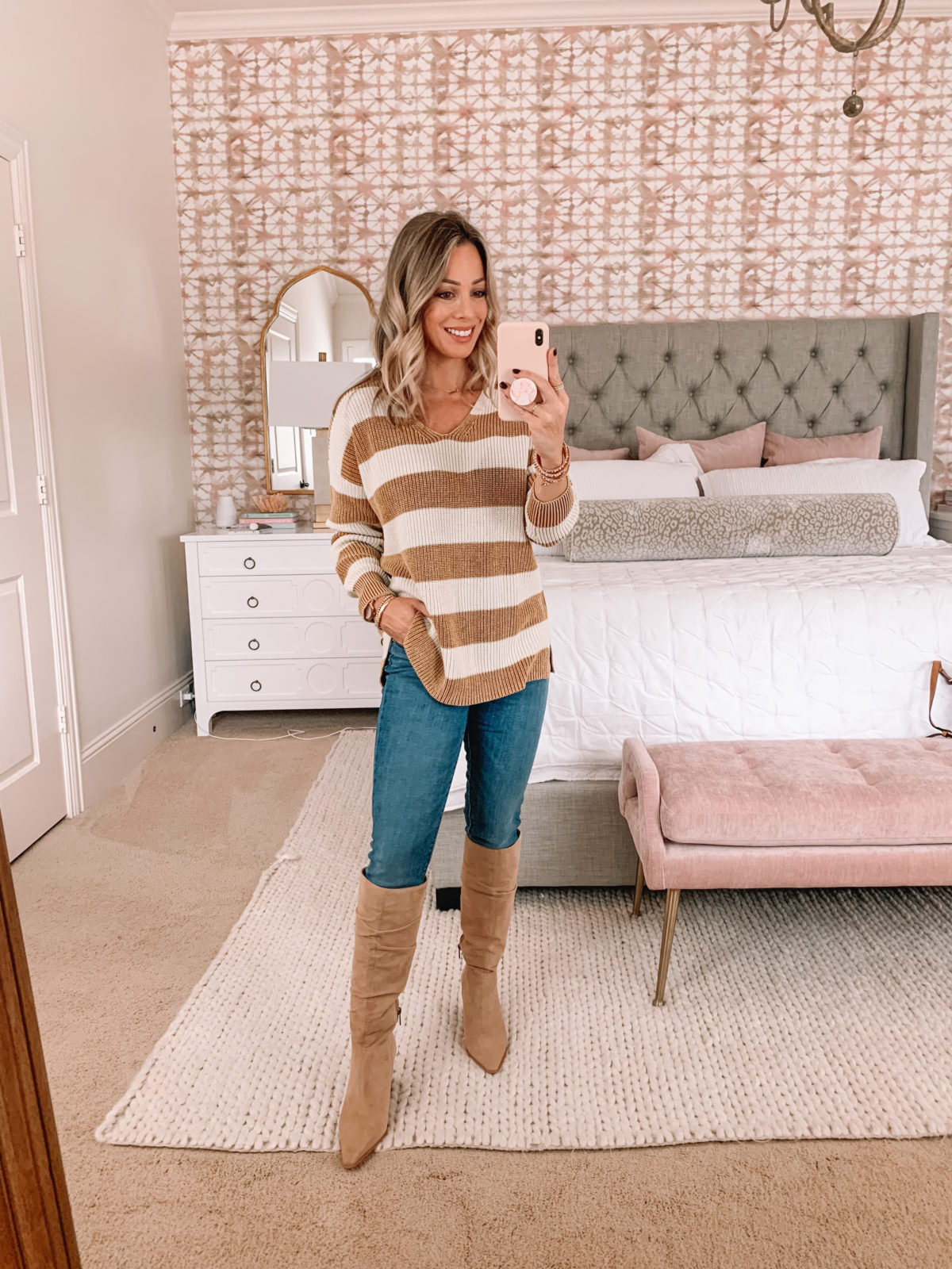 Amazon Fashion Faves, Striped Sweater Tunic, Jeans, Knee High Boots