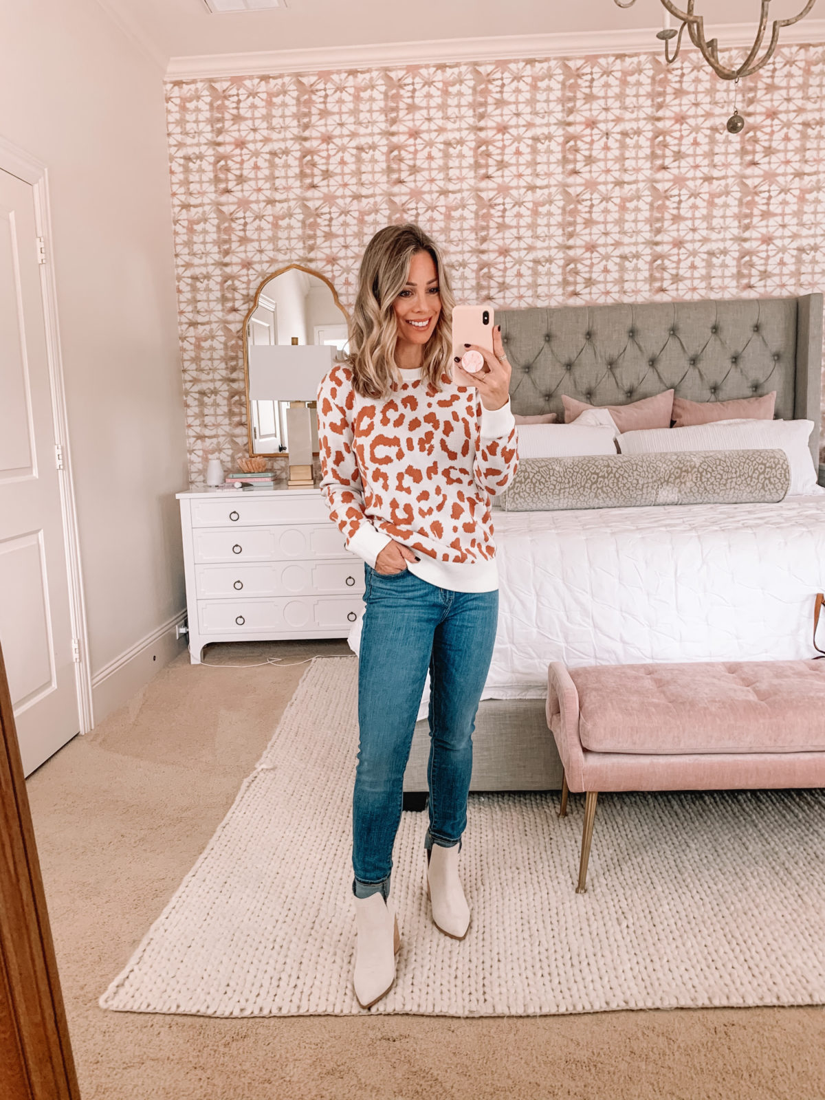 Amazon Fashion Faves, Leopard Sweater, Jeans, Booties