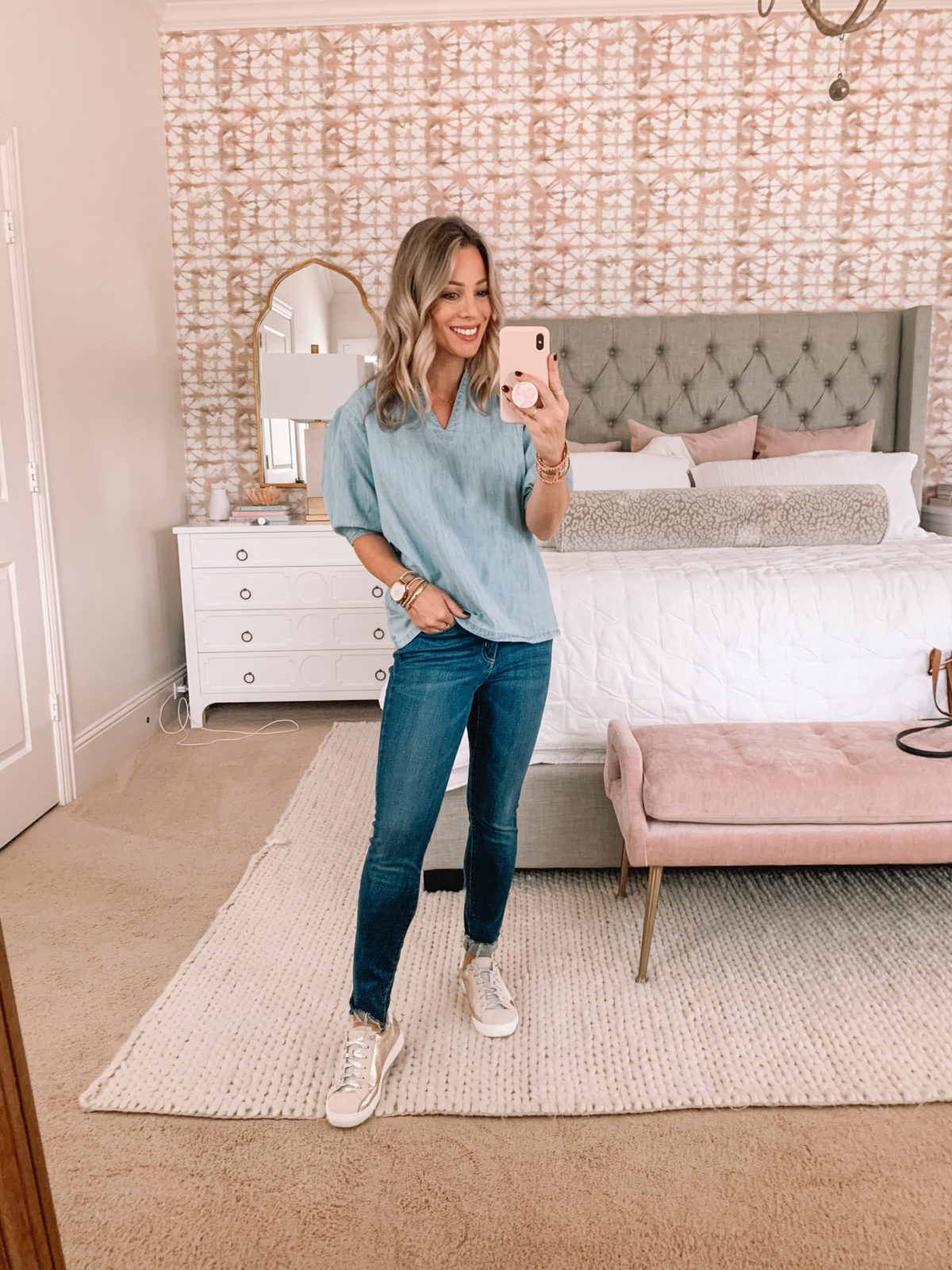 Amazon Fashion Faves, Chambray Top, Jeans, Sneakers