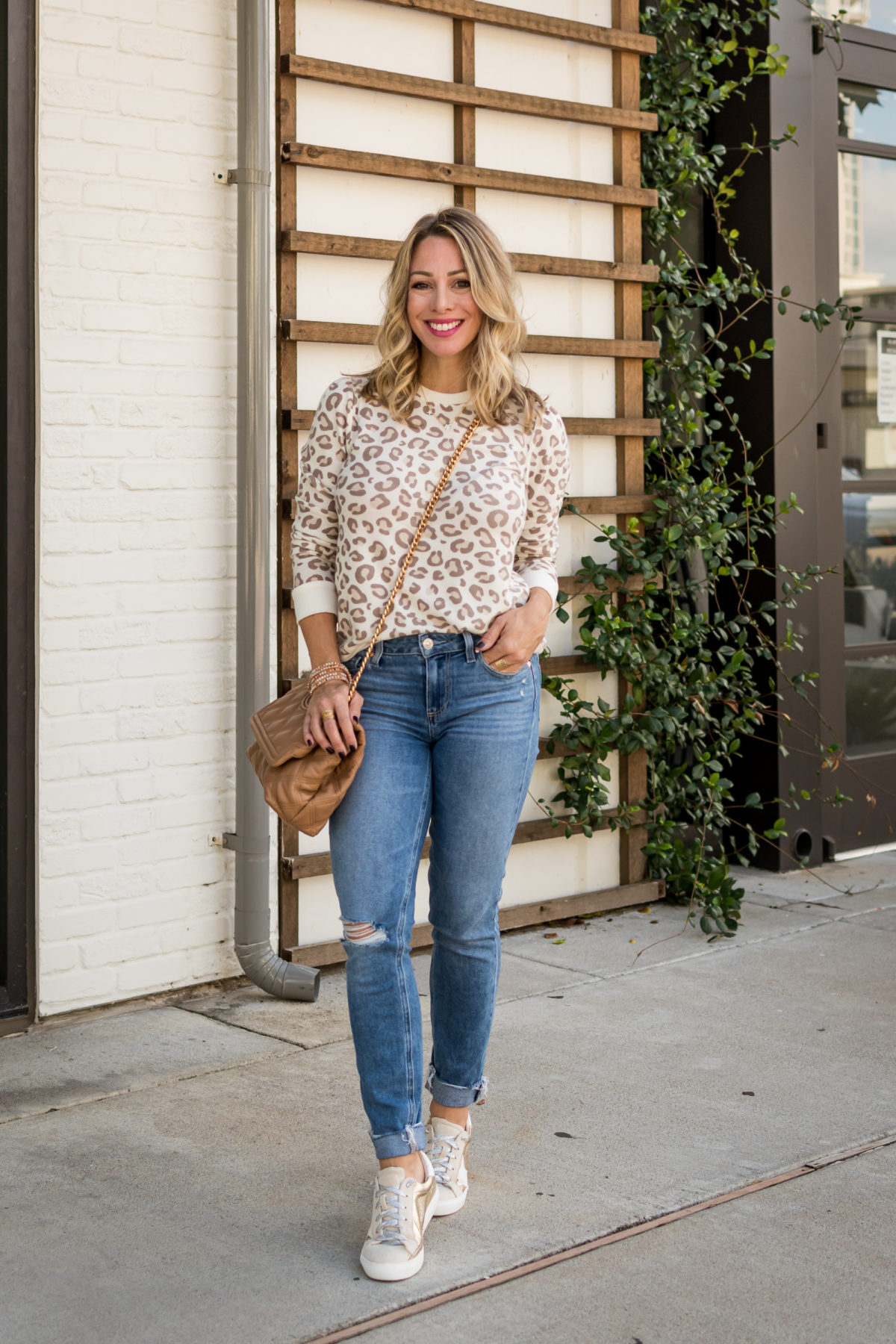 Gibson x Hi Sugarplum Home for the Holidays leopard pullover and jeans