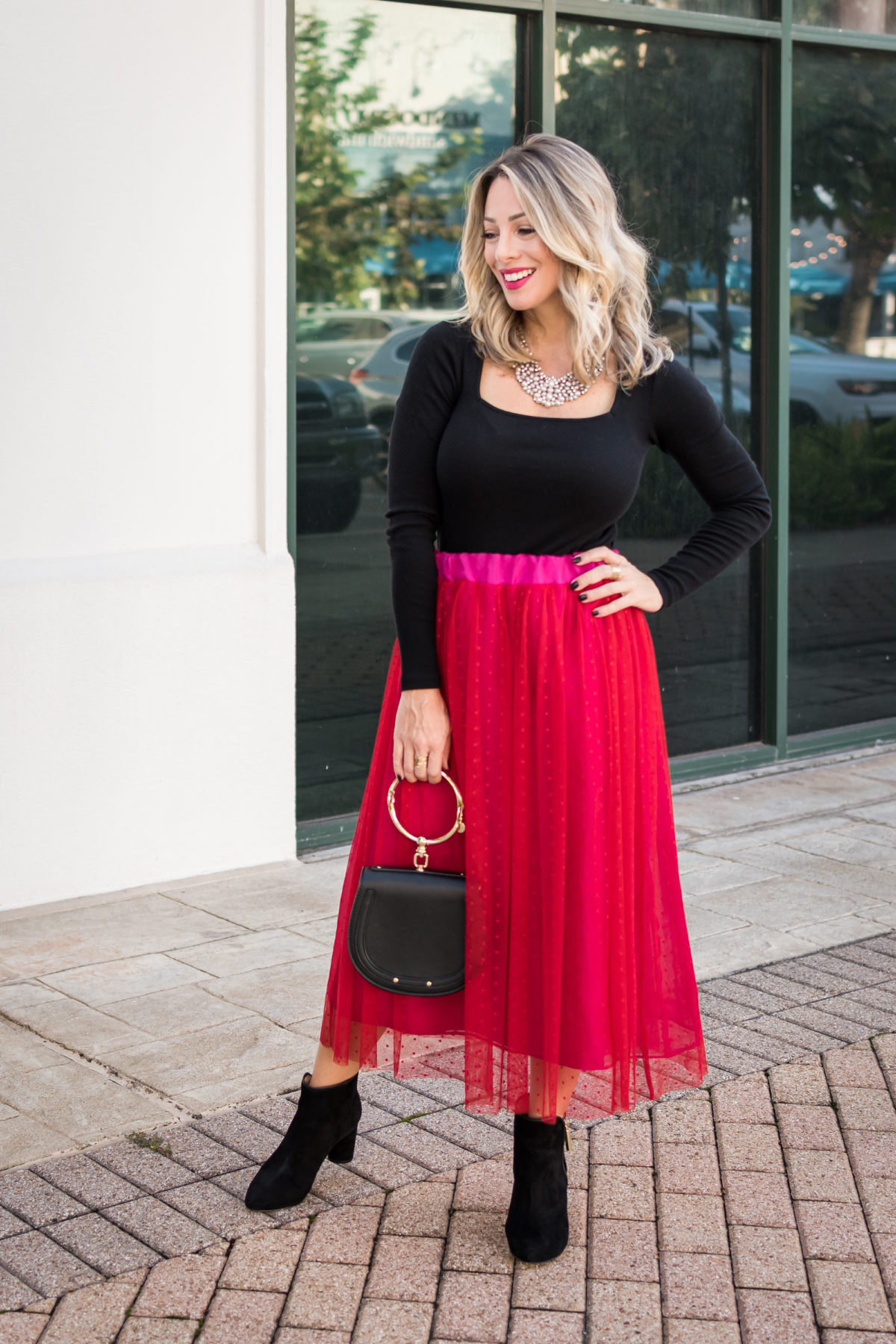 Gibson Fashion, Bodysuit Long Sleeve, Tulle Skirt, Black Booties