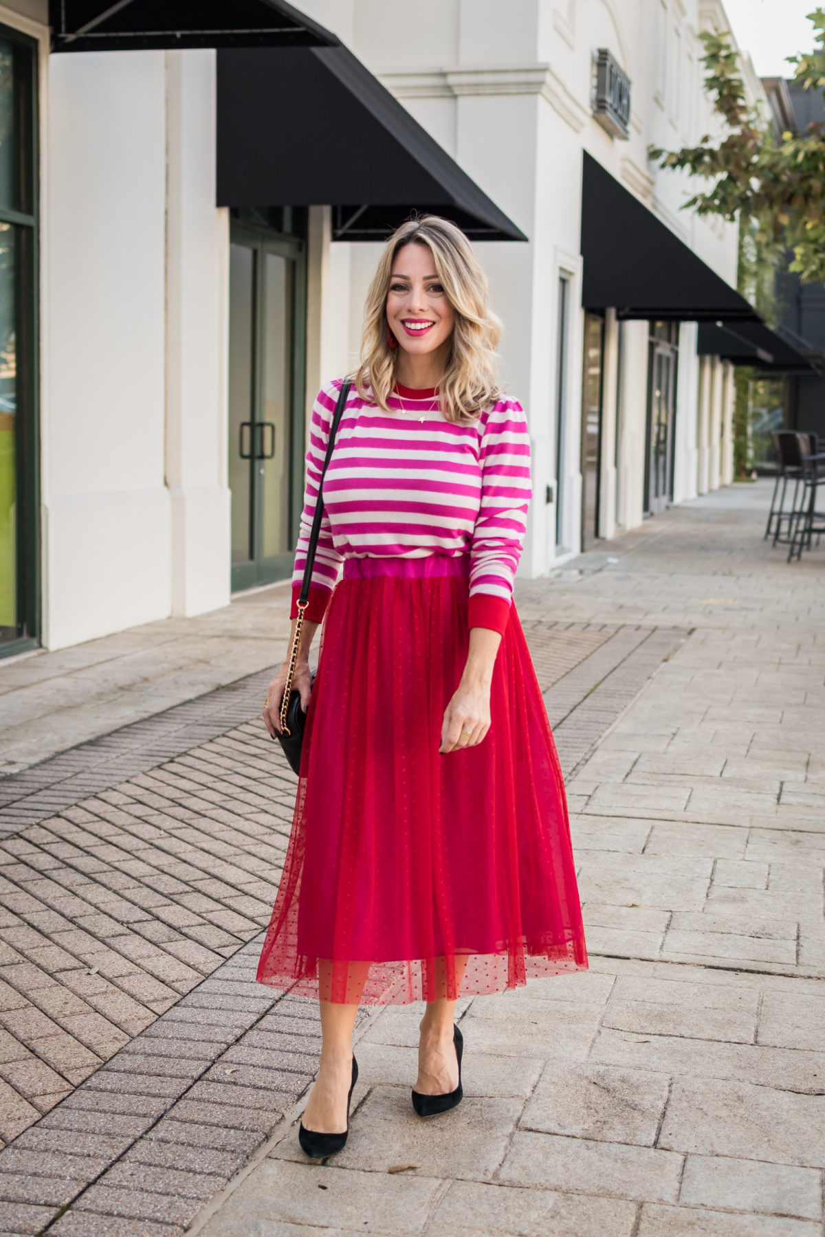 Gibson Fashion, Striped Sweater, Tulle Skirt, Black Heels, Crossbody