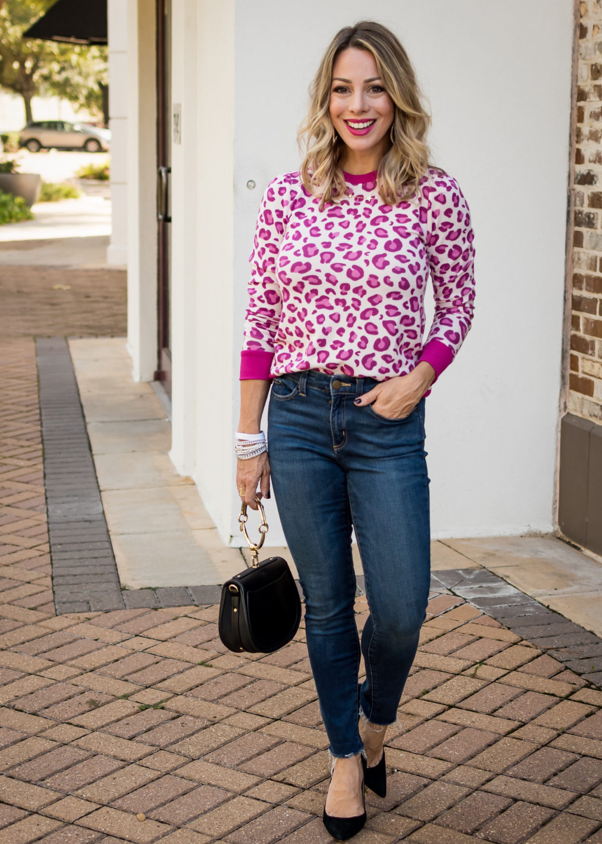 Gibson Fashion, Pink Leopard Sweater, Daily Ritual Jeans, Heels, Ring Clutch