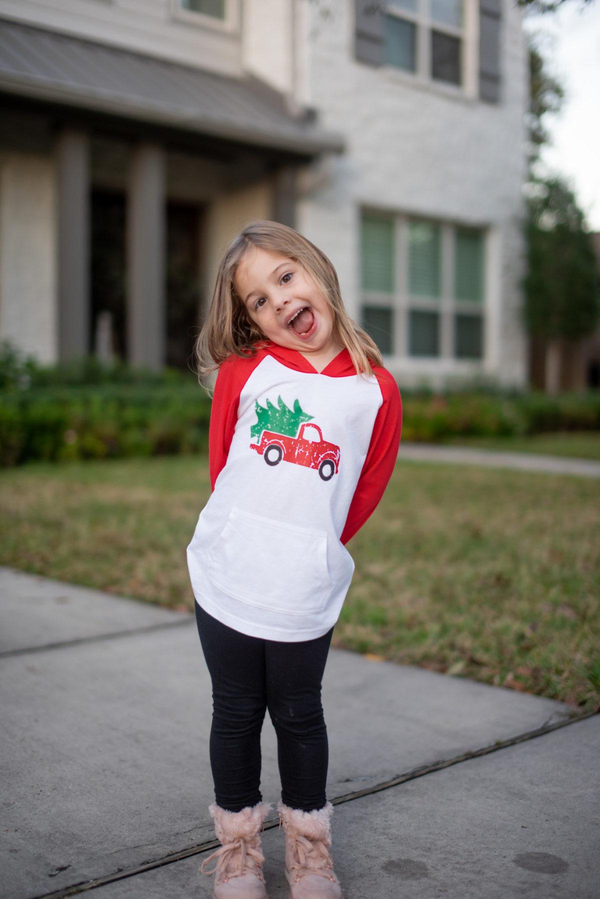 Kids Christmas truck and tree hoodie