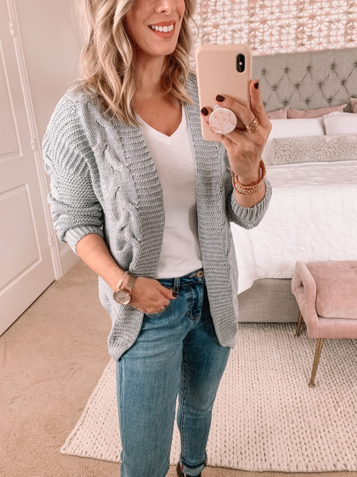 Amazon Fashion Faves, Tee, Cardigan, JAG Jeans, Booties