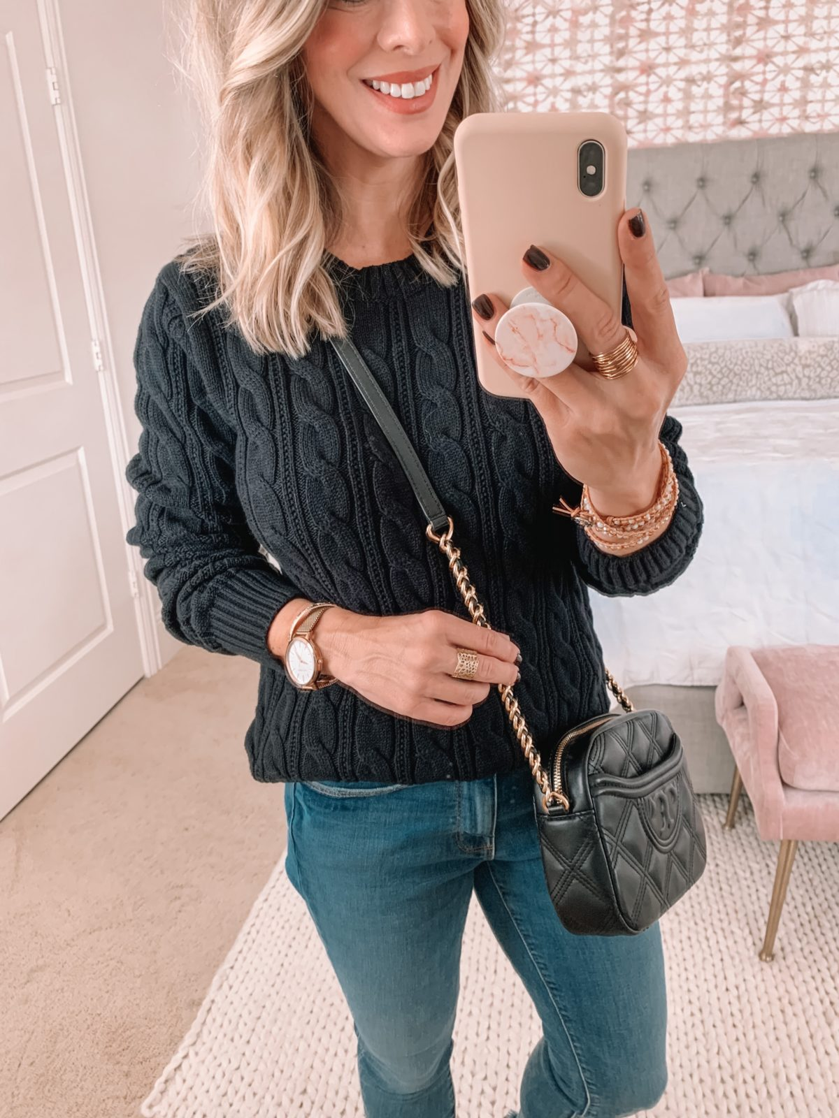 Amazon Fashion Faves, Cable Knit Sweater, Jeans, Crossbody