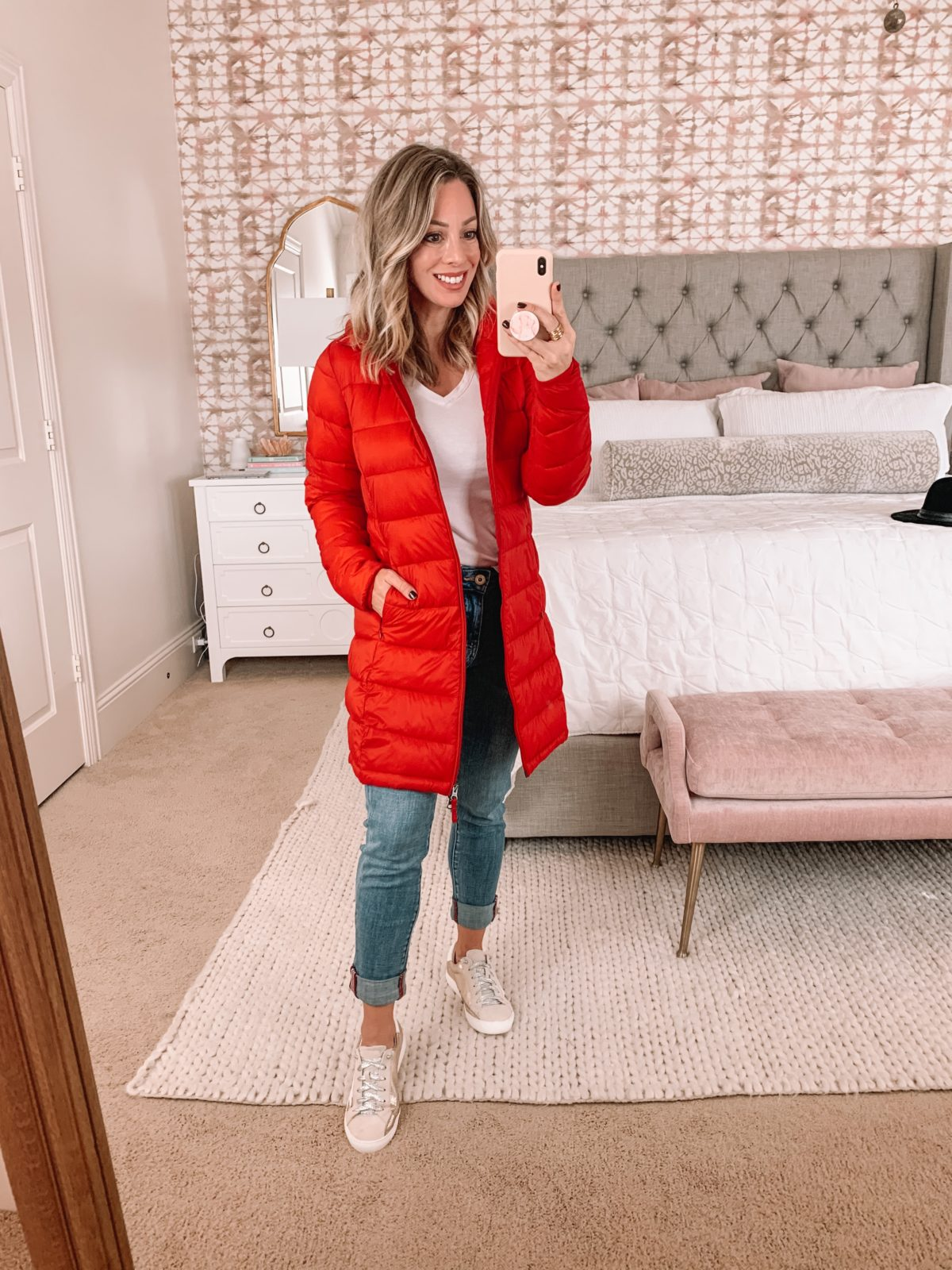 Amazon Fashion Faves, Tee, Puffer Jacket, JAG Jeans, Sneakers