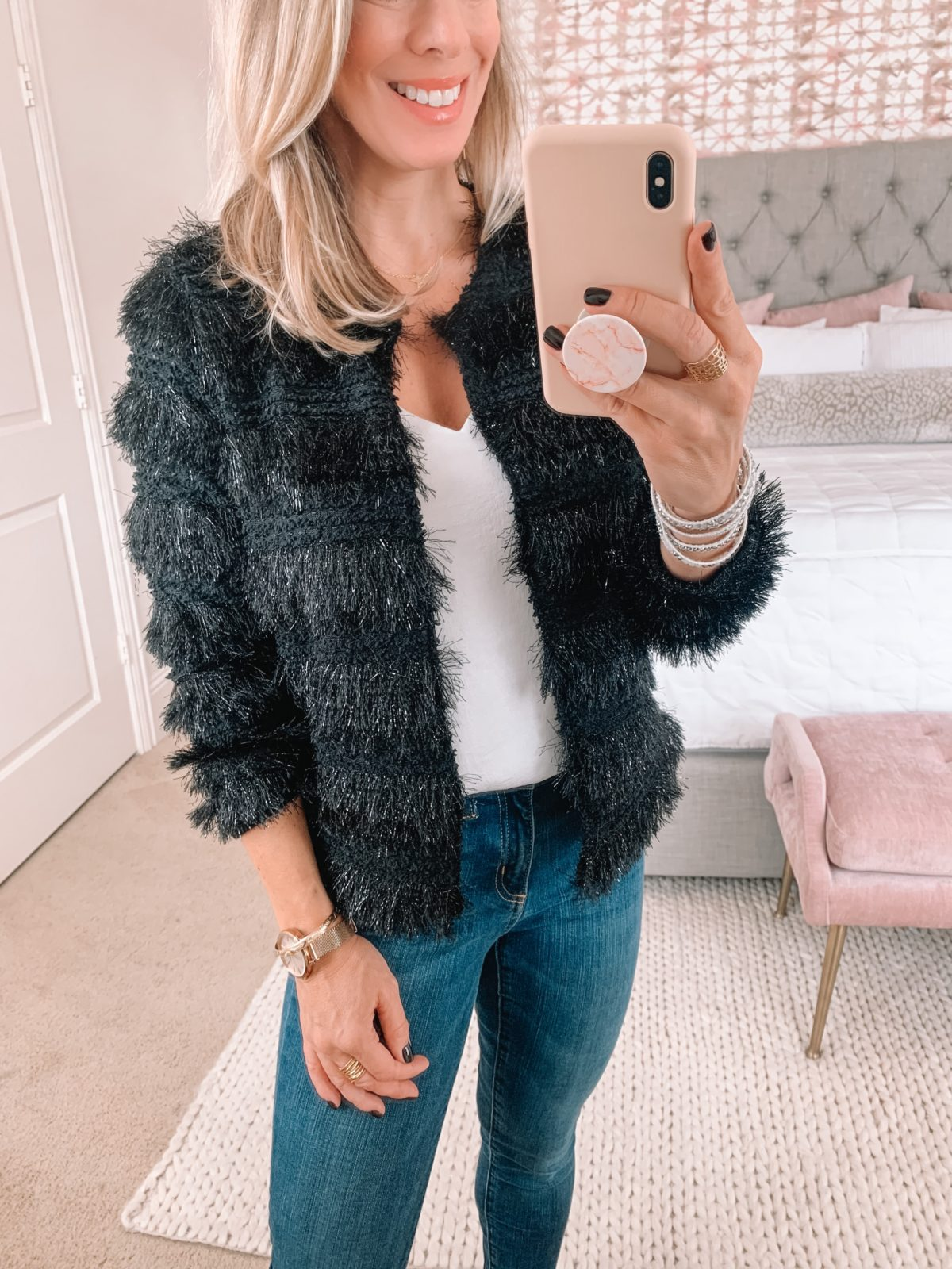 fuzzy jacket for evening out- Gibson Glam