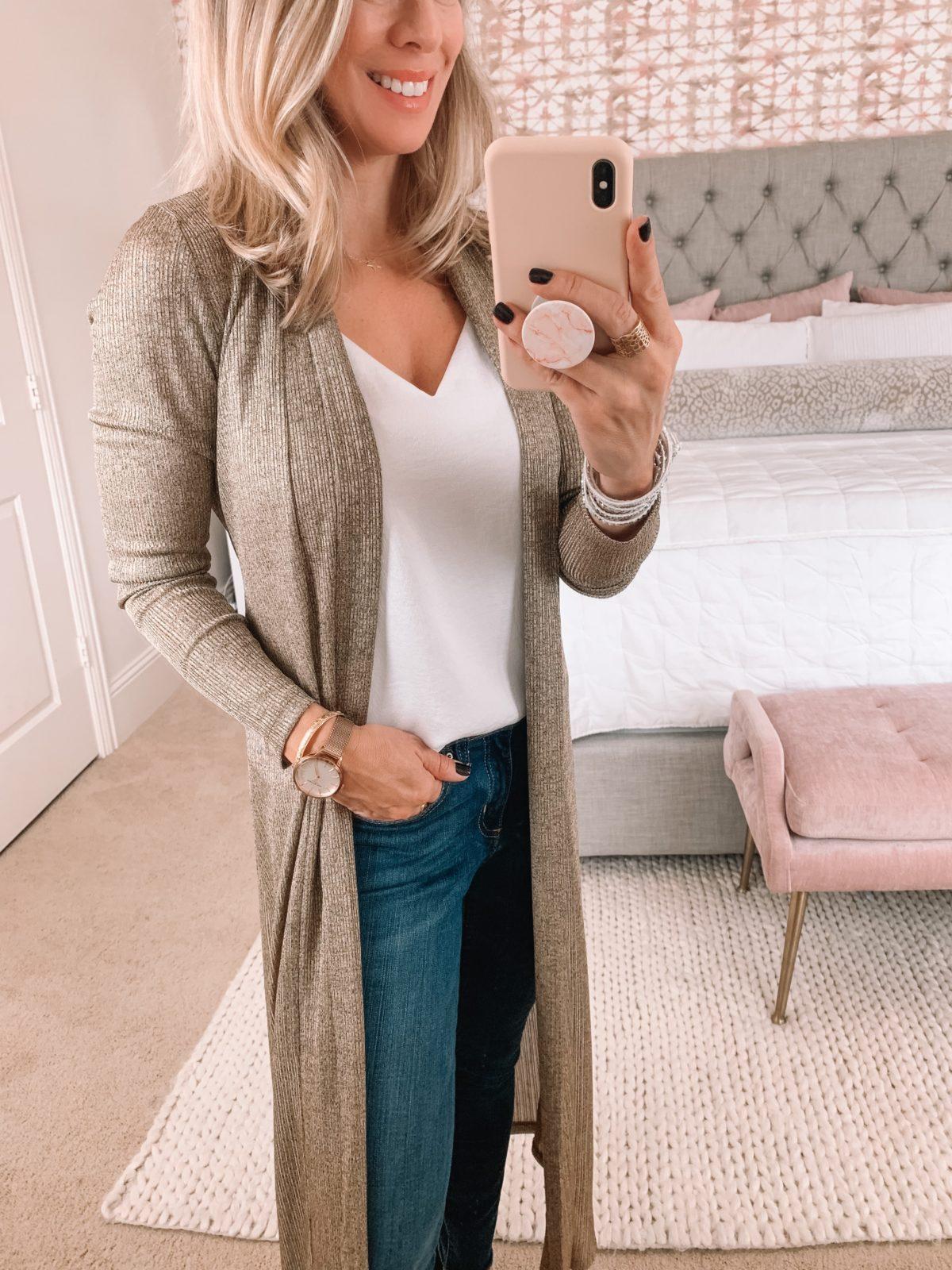 Dressing Room, Gold Duster, Skinny Jeans, Heels