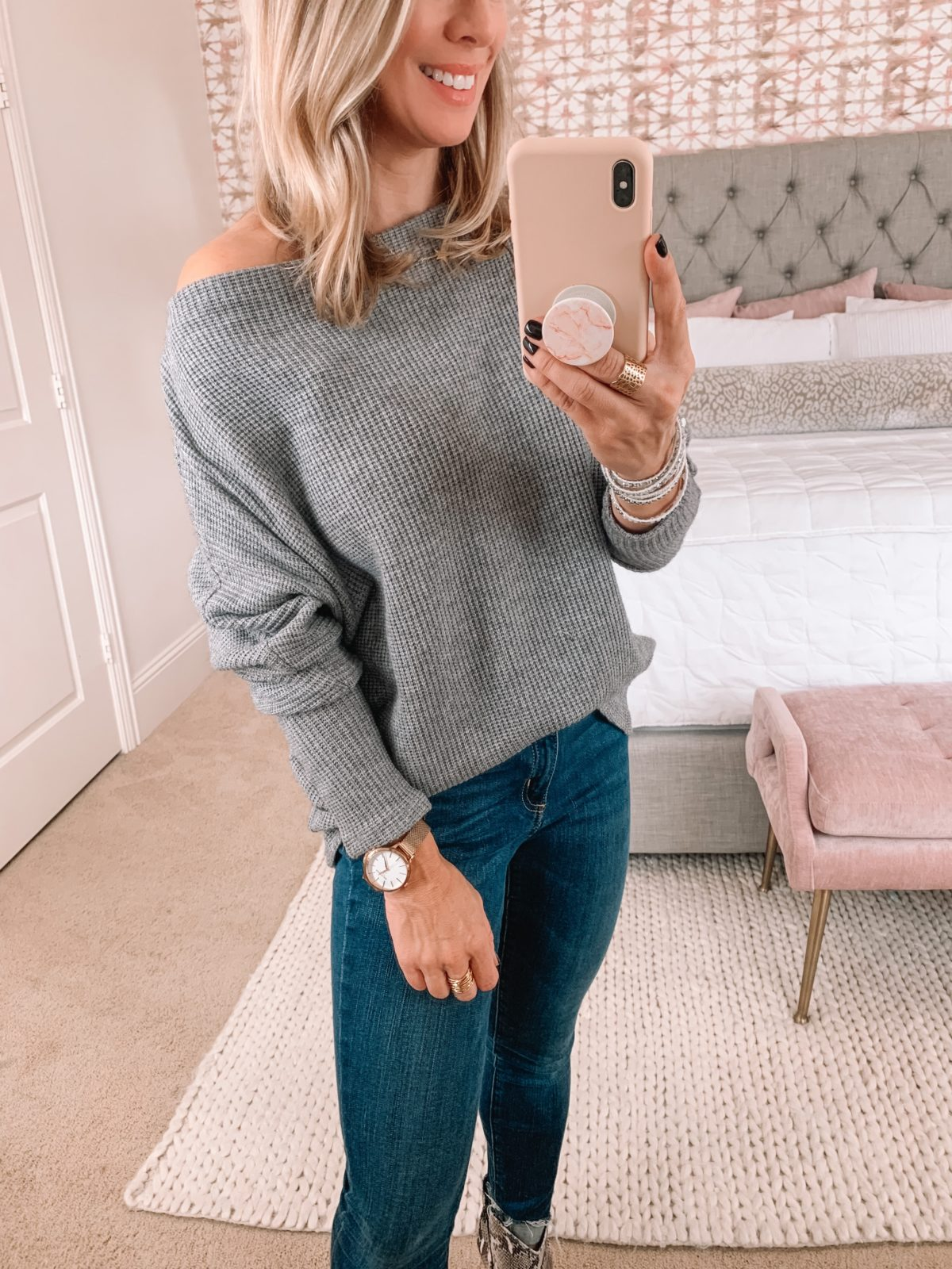 grey off shoulder sweater Gibson Glam