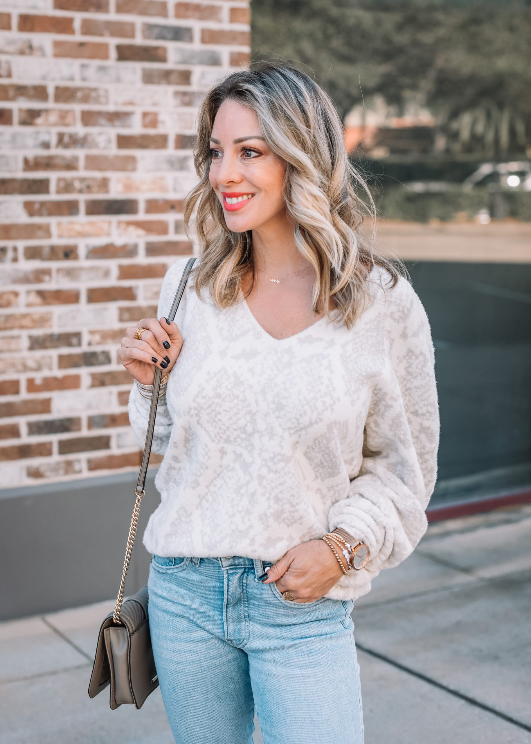 Express Fashion, Snakeskin Sweater, Jeans, Crossbody