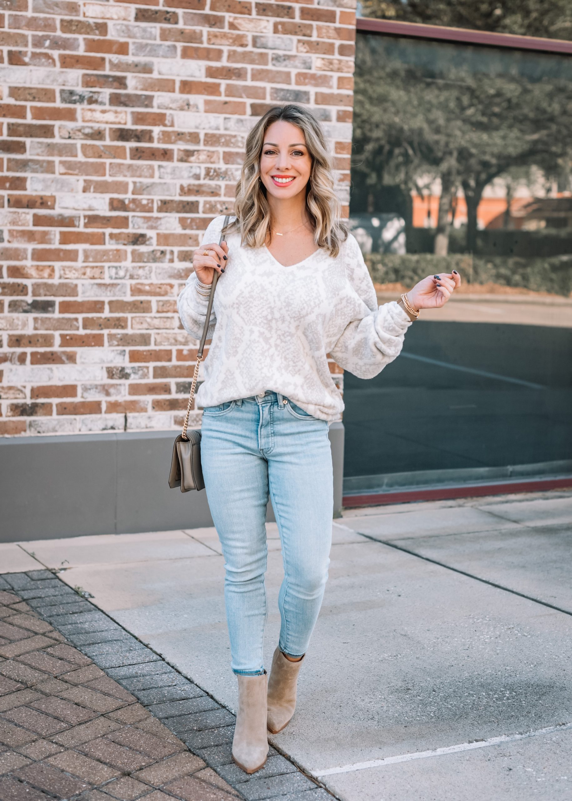 Express Fashion, Snakeskin Sweater, Jeans, Booties