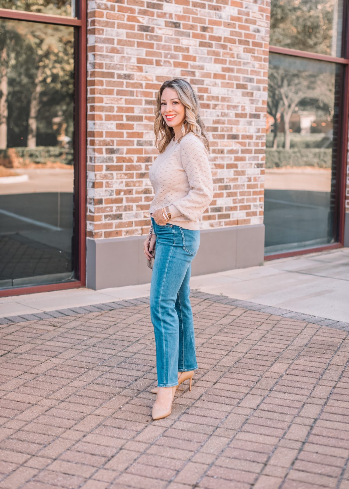 Express Fashion, Pointinelle Sweater, Jeans, Heels