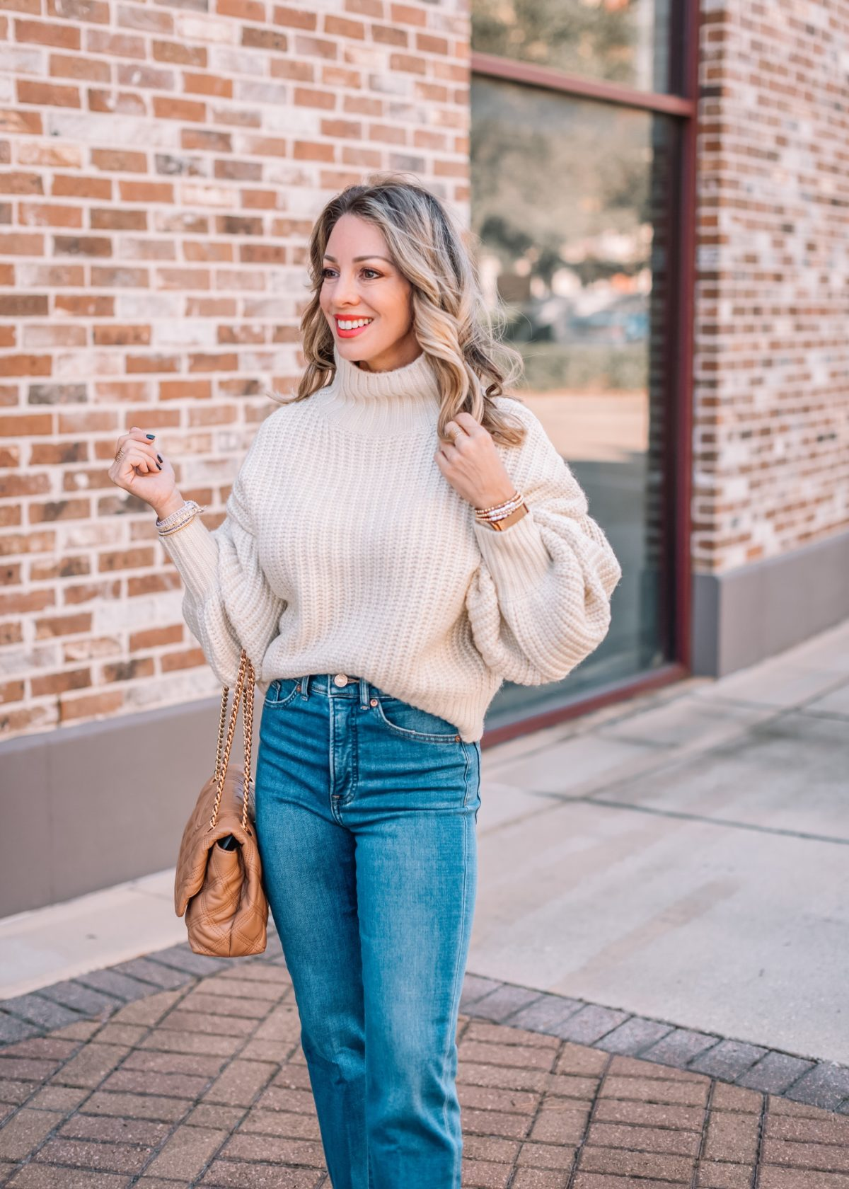 Express Fashion, Balloon Sleeve Sweater, Jeans