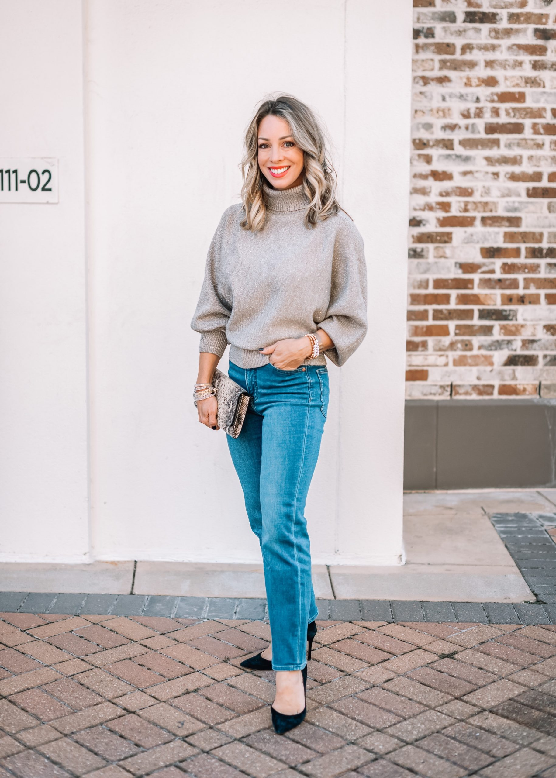 Express Fashion, Metallic Sweater, Jeans, Heels, Clutch