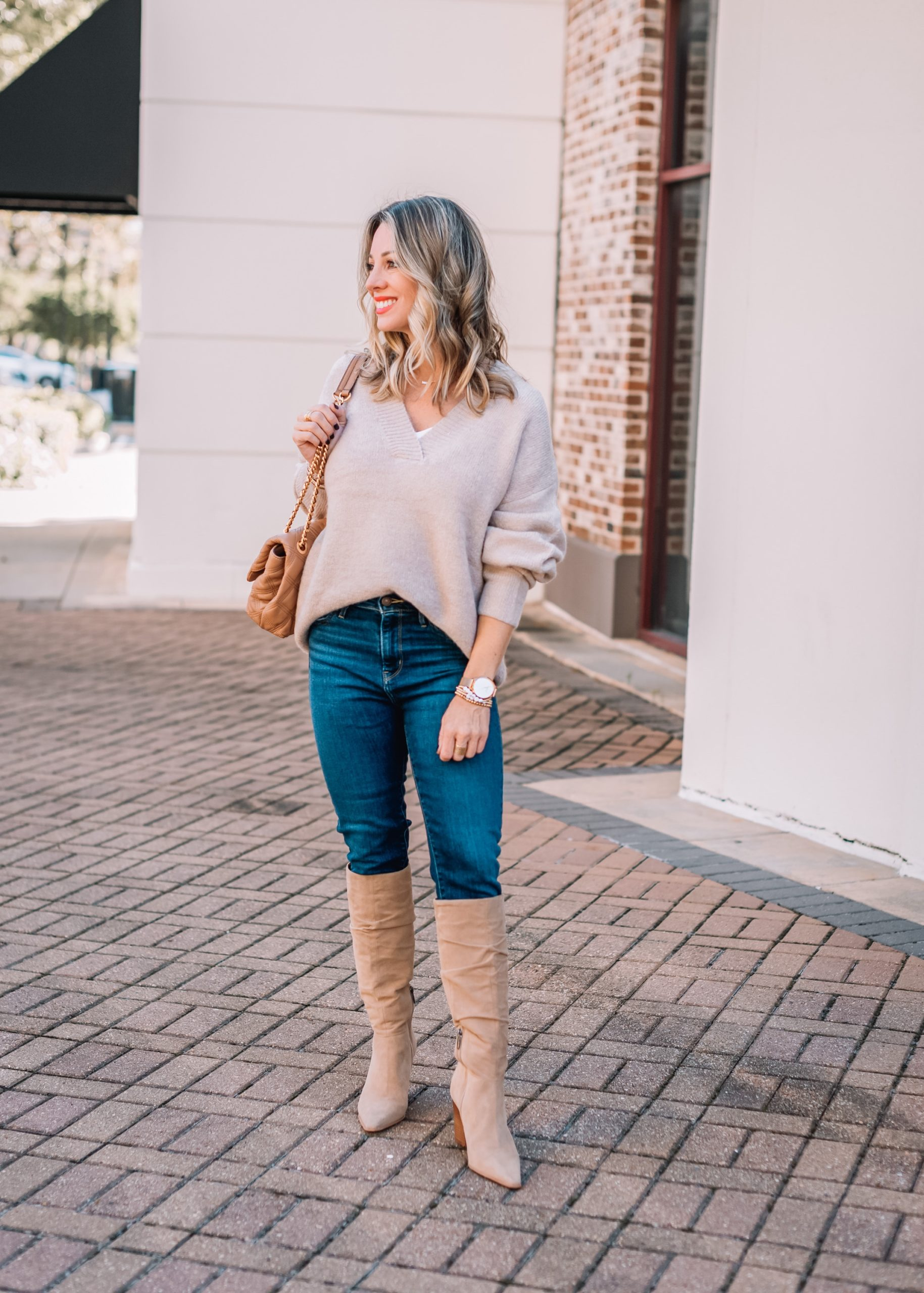 Express Fashion Finds, V-Neck Sweater, Skinny Jeans, Knee High Boots