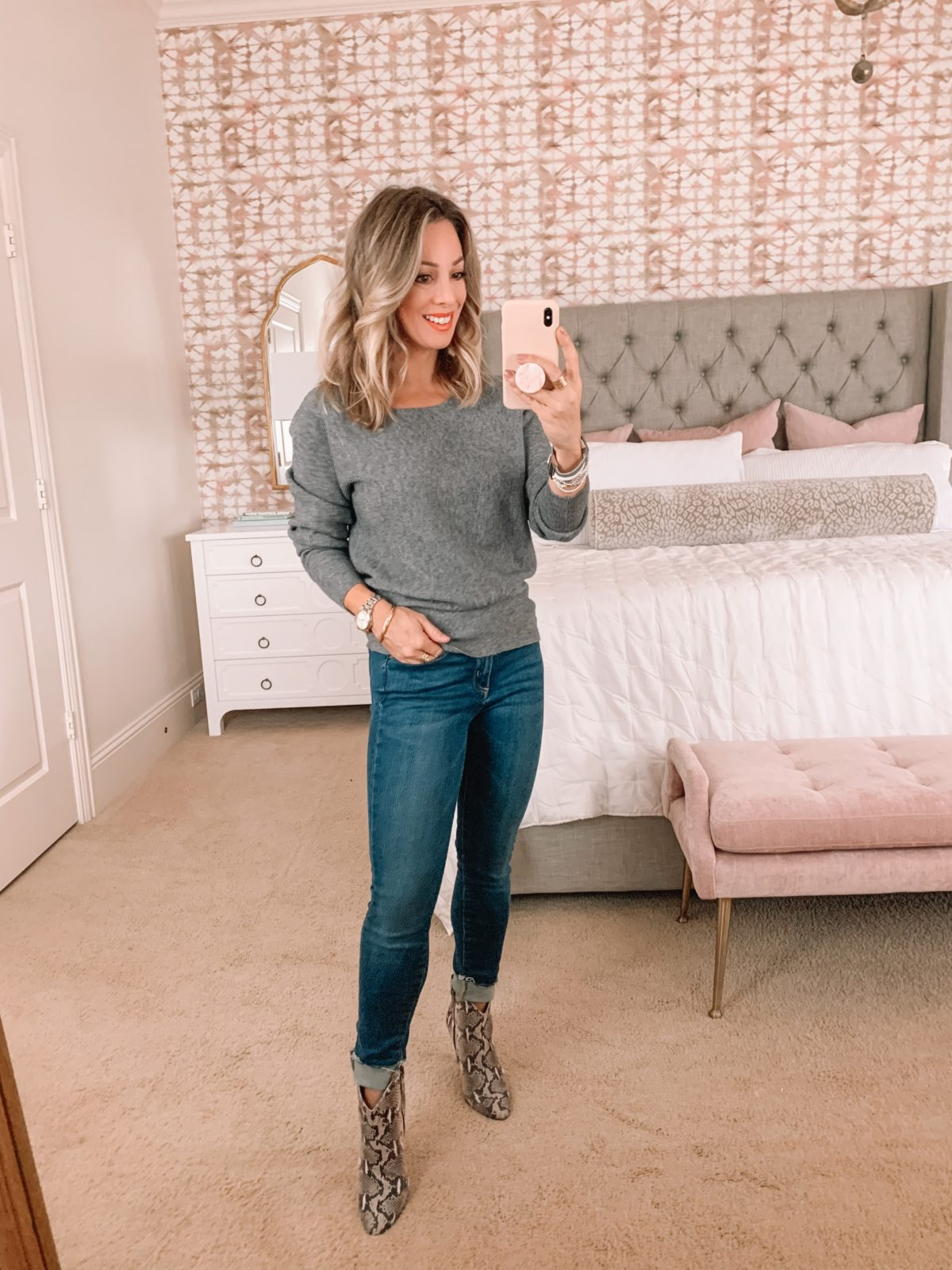 Amazon Fashion Faves, Grey Sweater, Jeans, Snakeskin Booties
