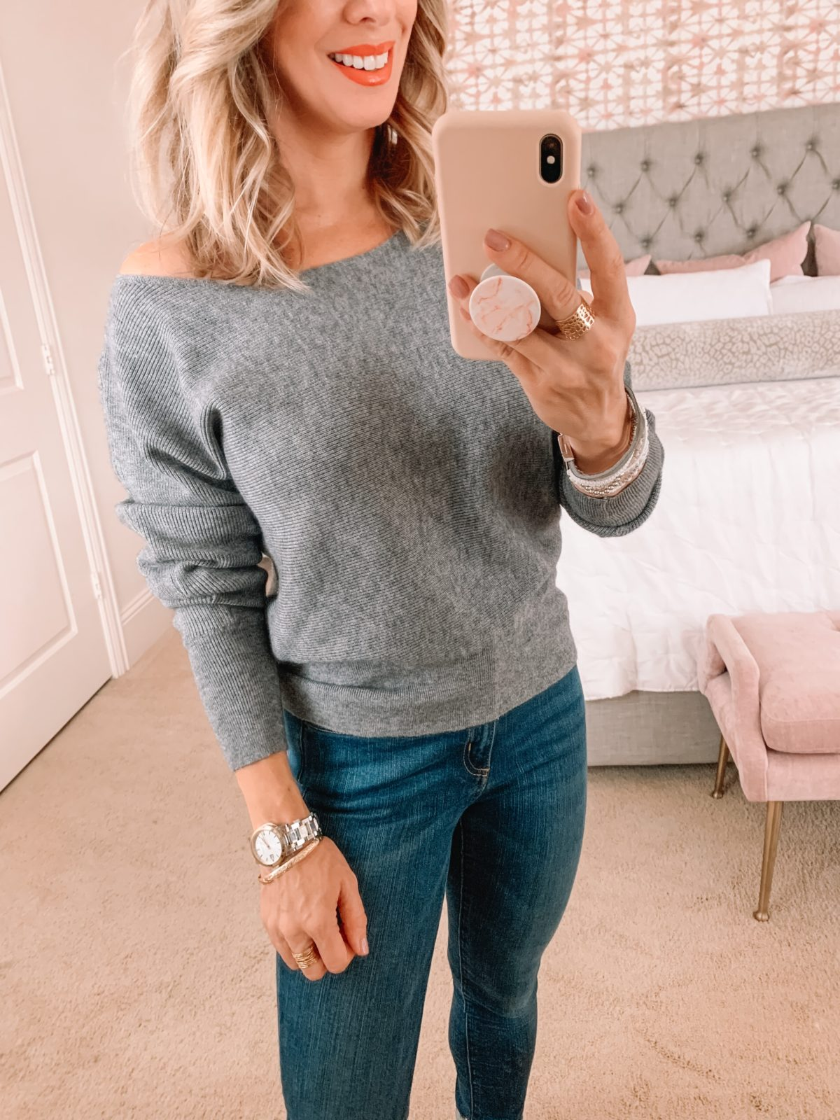 Amazon Fashion Faves, Gray Sweater, Jeans