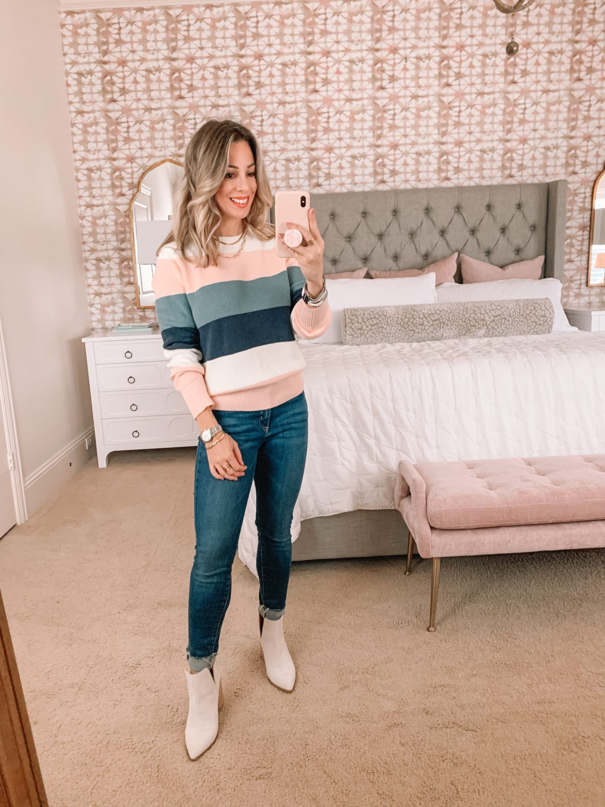 Amazon Fashion Faves, Colorblock Sweater, Jeans, White Booties