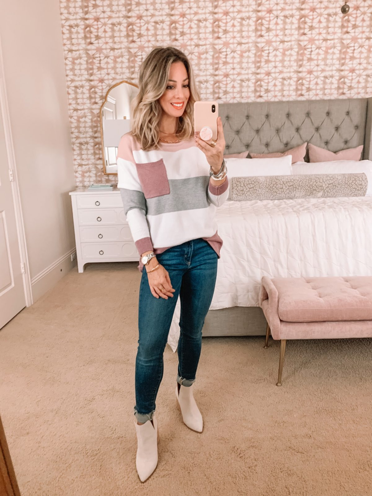 Amazon Fashion Faves, Coloblock Sweater with Pocket, Jeans, Booties
