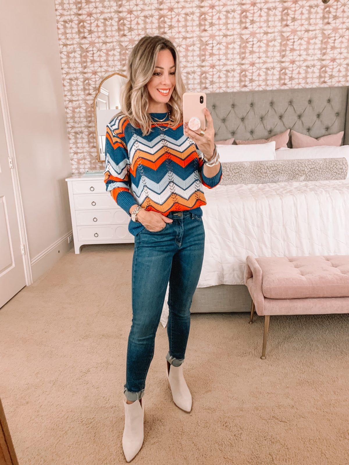 Amazon Fashion Faves Chevron print Sweater, Jeans, Booties