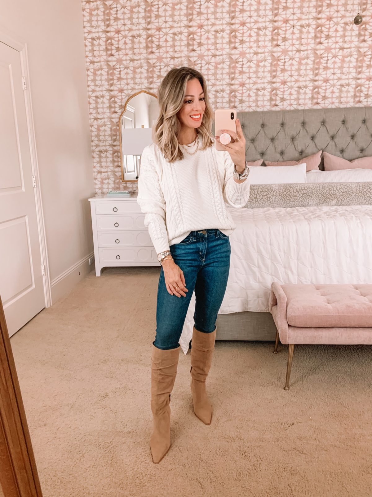 Amazon Fashion Faves, Cable knit Sweater, Jeans, Boots