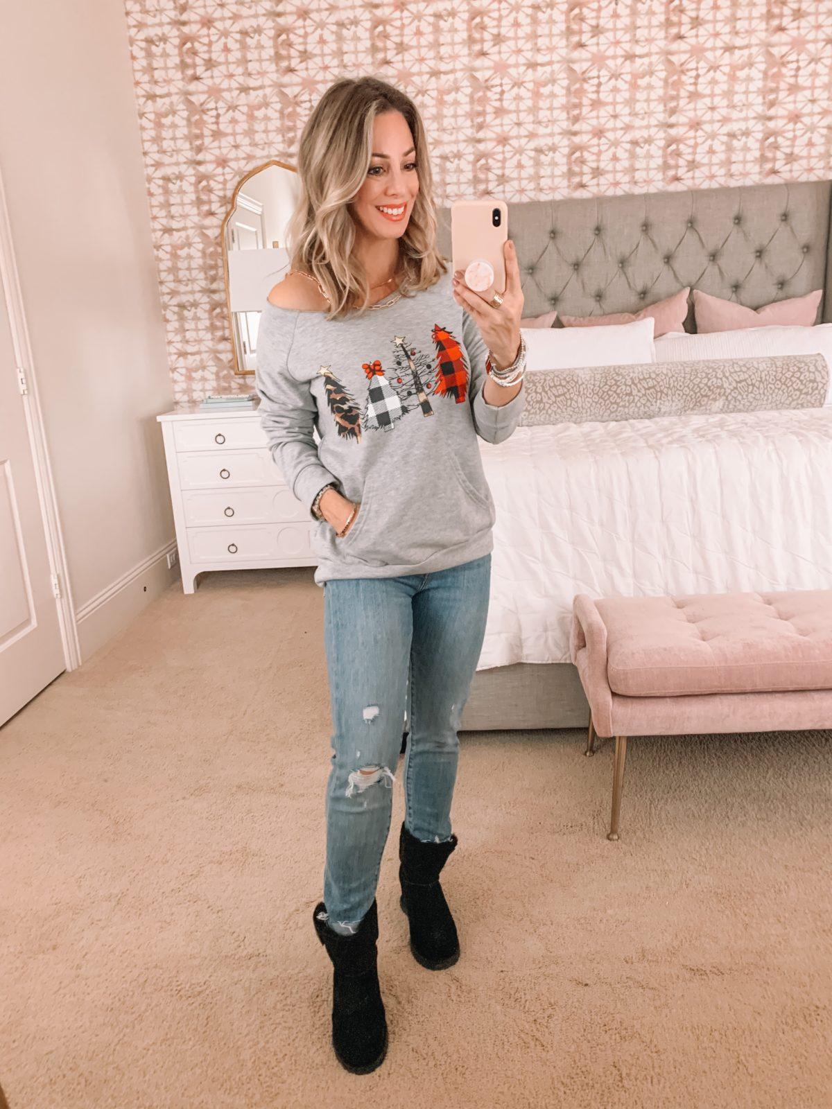 Amazon Fashion Faves, Christmas Tree Sweatshirt, Jeans, Ugg Booties
