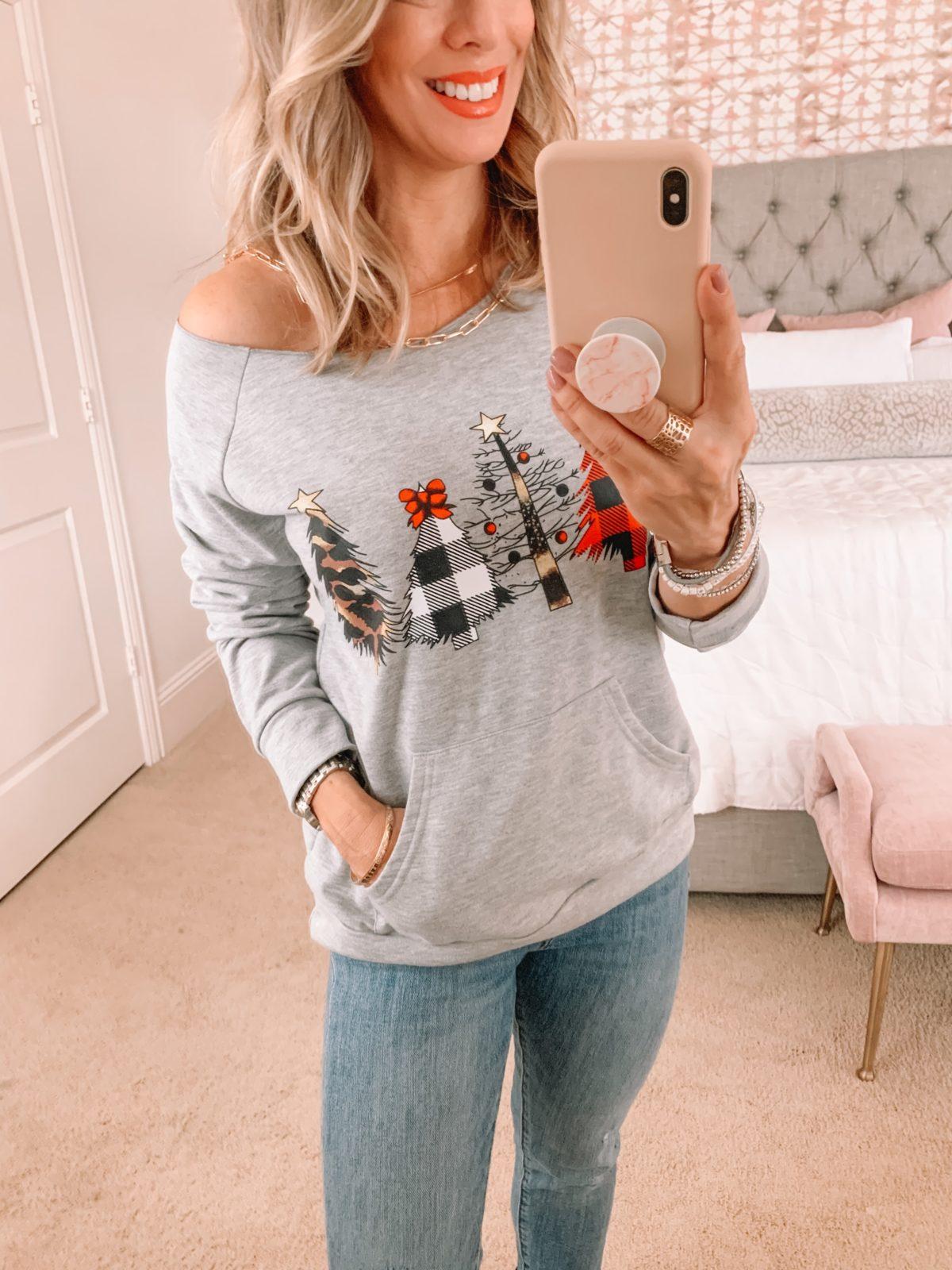 Amazon Fashion Faves, Christmas Tree Sweatshirt, Jeans